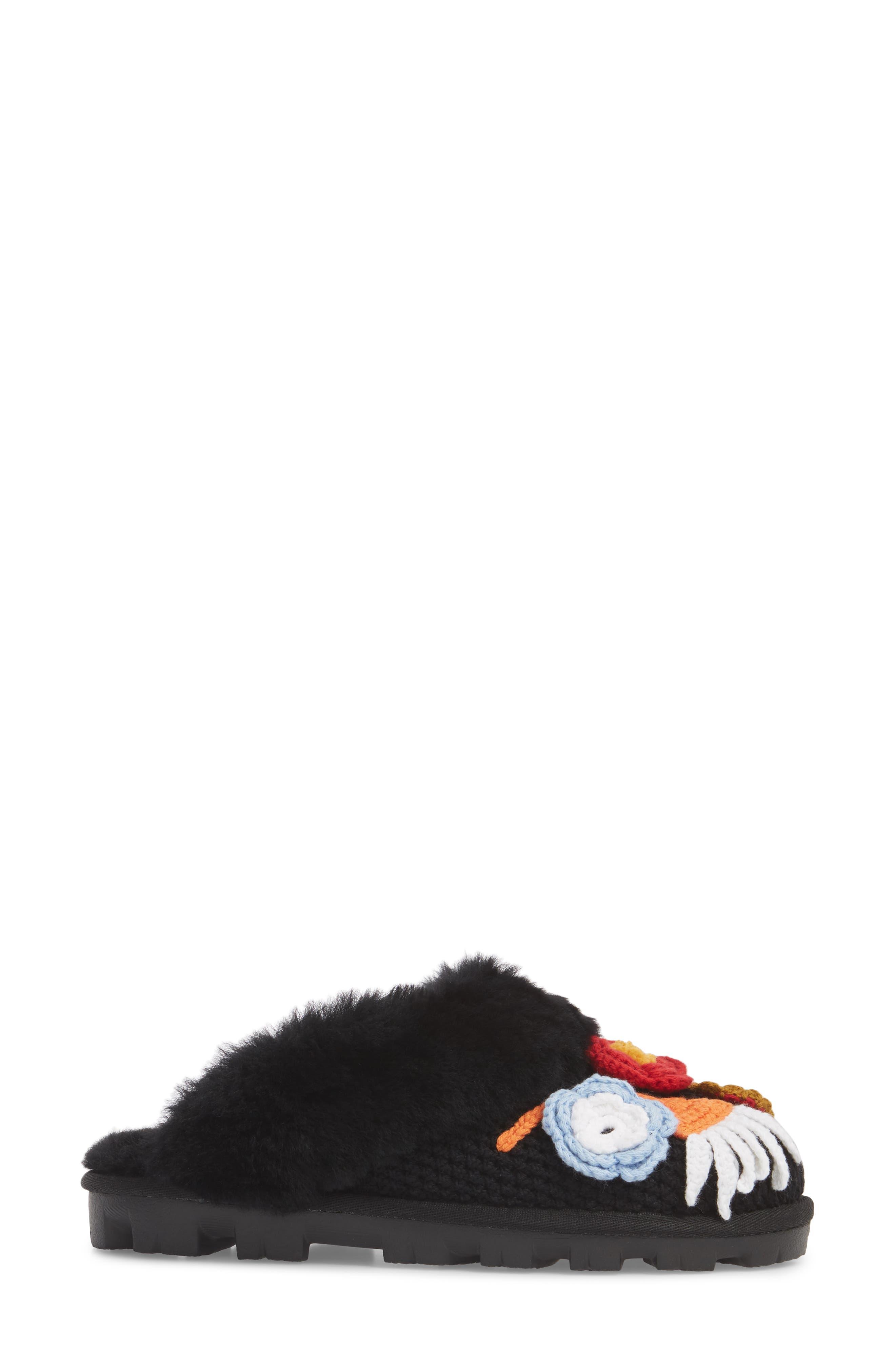 Crochet Genuine Shearling Slipper,                             Alternate thumbnail 3, color,                             Black