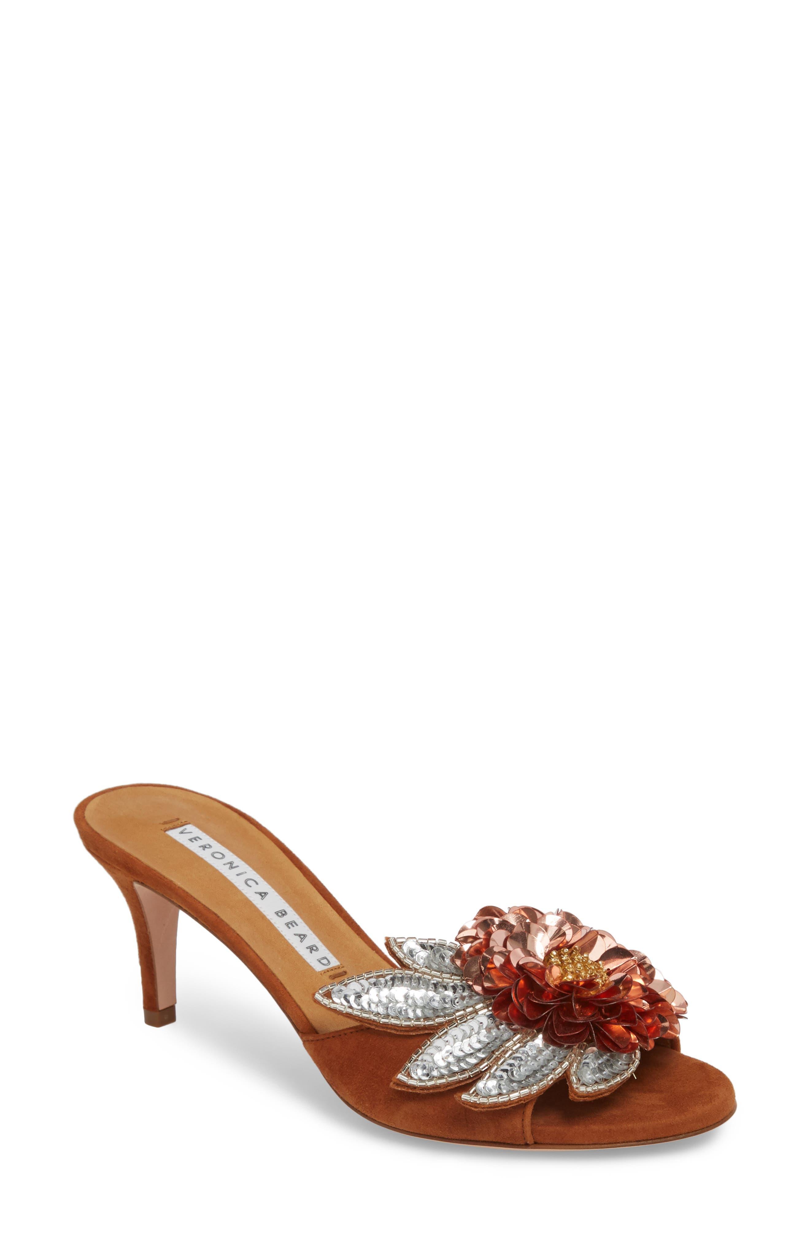 Nev Embellished Slide Sandal,                             Main thumbnail 1, color,                             Cognac