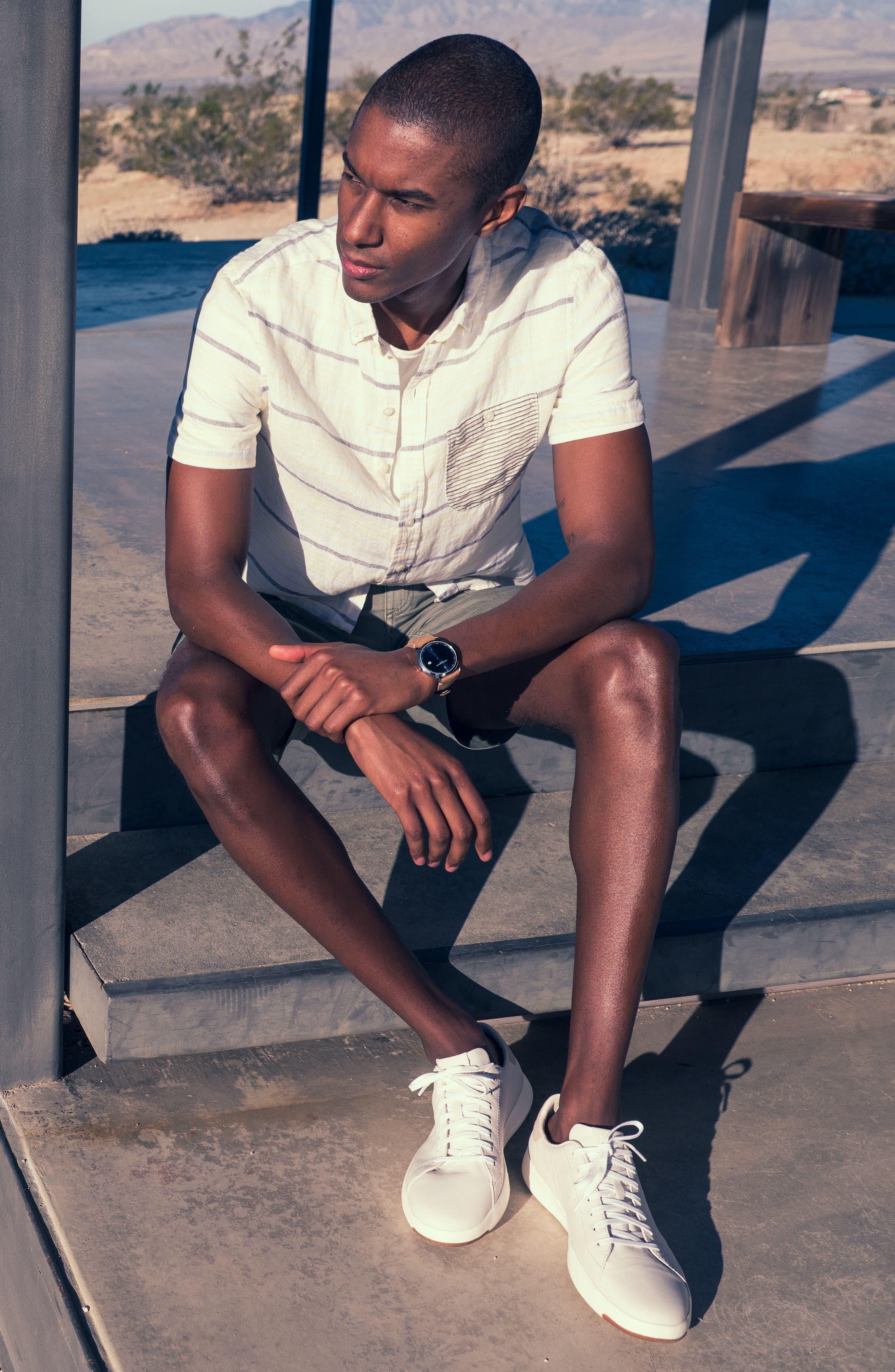 Stripe Linen Sport Shirt,                             Alternate thumbnail 9, color,
