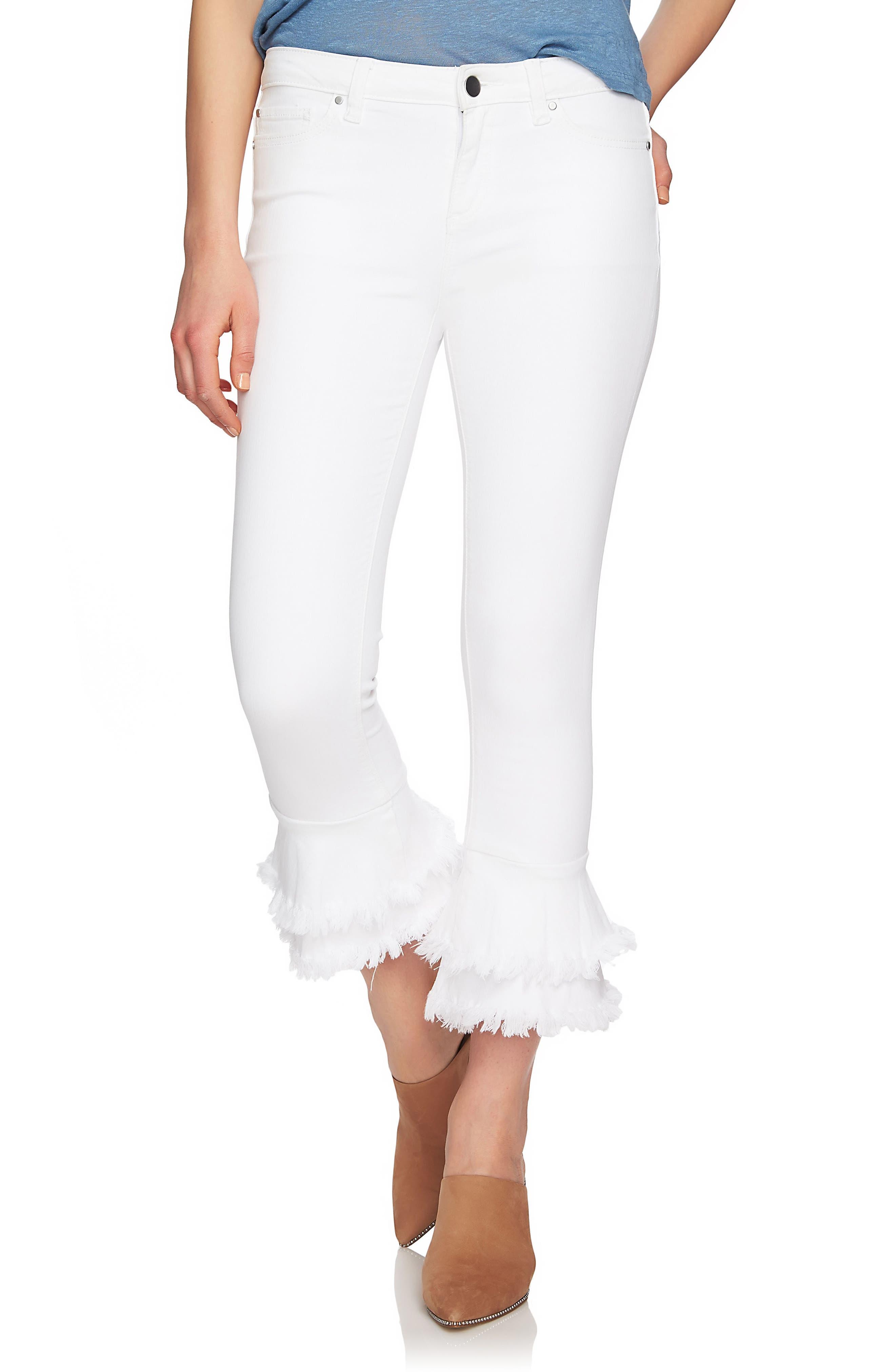1.STATE Ruffle Hem Crop Jeans (Ultra White)
