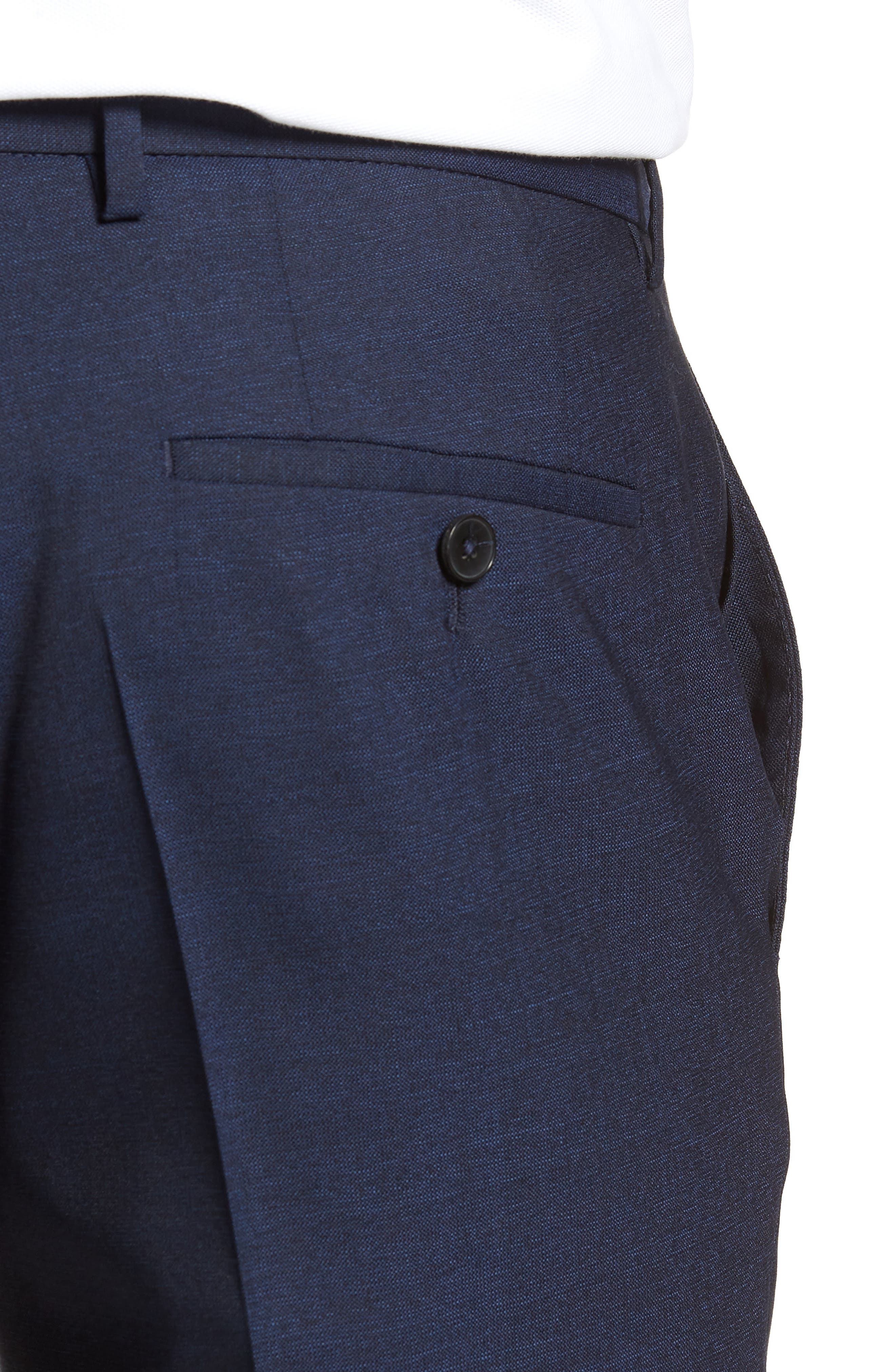 Alternate Image 4  - Nordstrom x BOSS Ben Flat Front Solid Wool Trousers