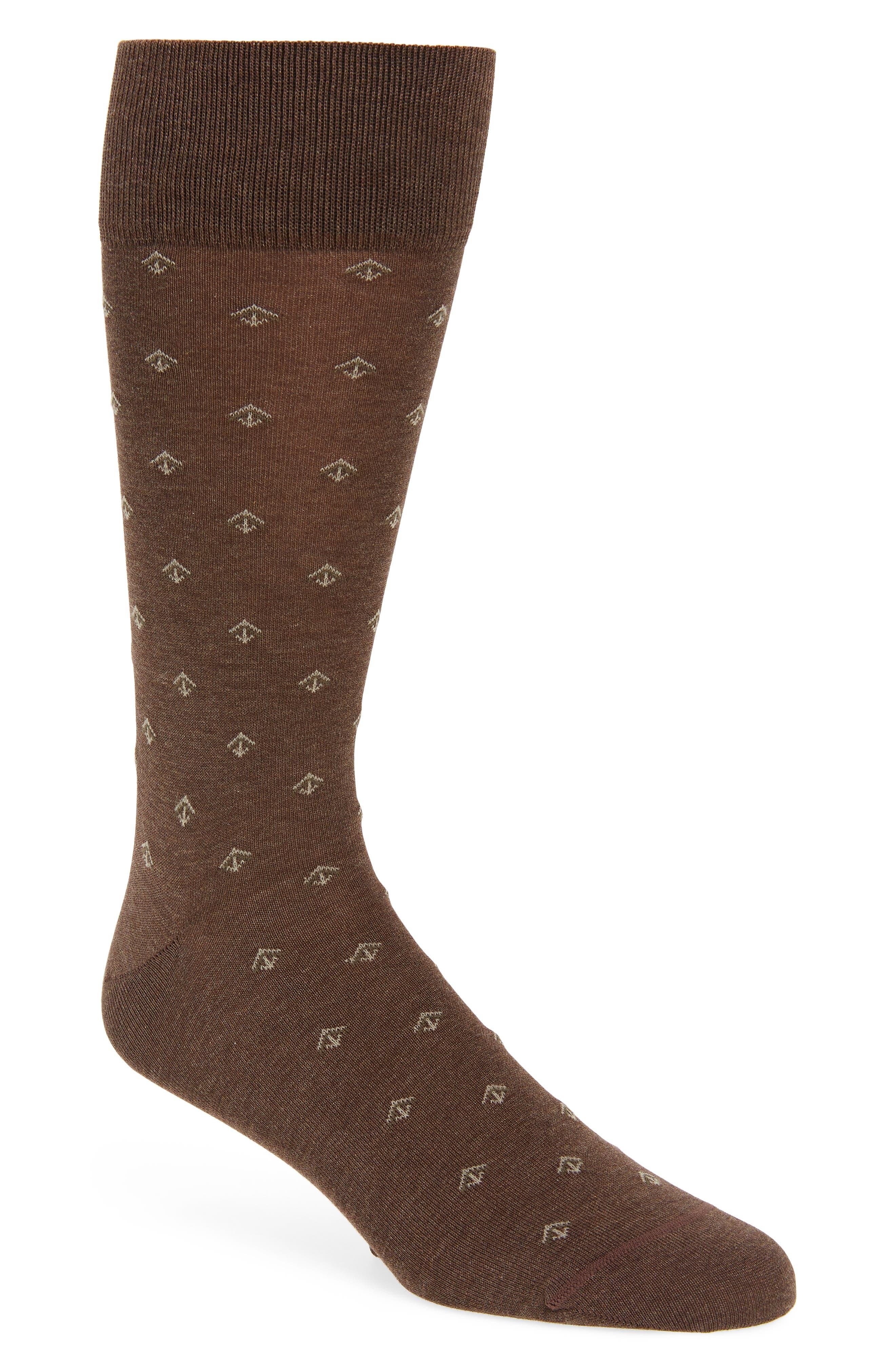 Cascading Arrows Socks,                         Main,                         color, Brown Heather
