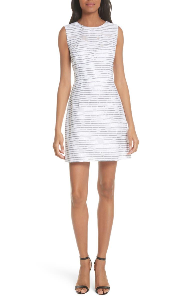Stripe Floral Burnout Cotton Blend Sheath Dress