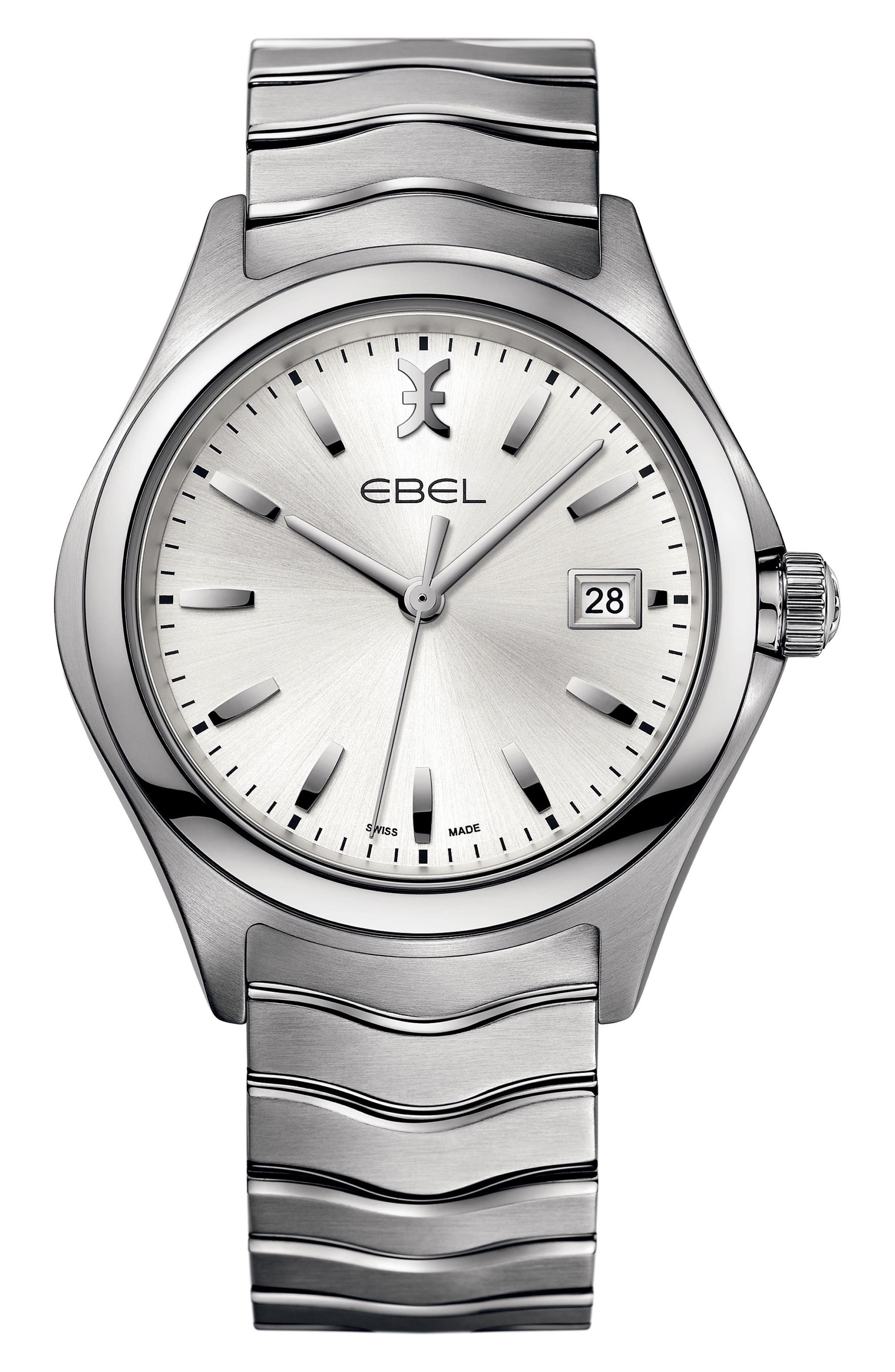 Wave Bracelet Watch, 40mm,                             Main thumbnail 1, color,                             Silver