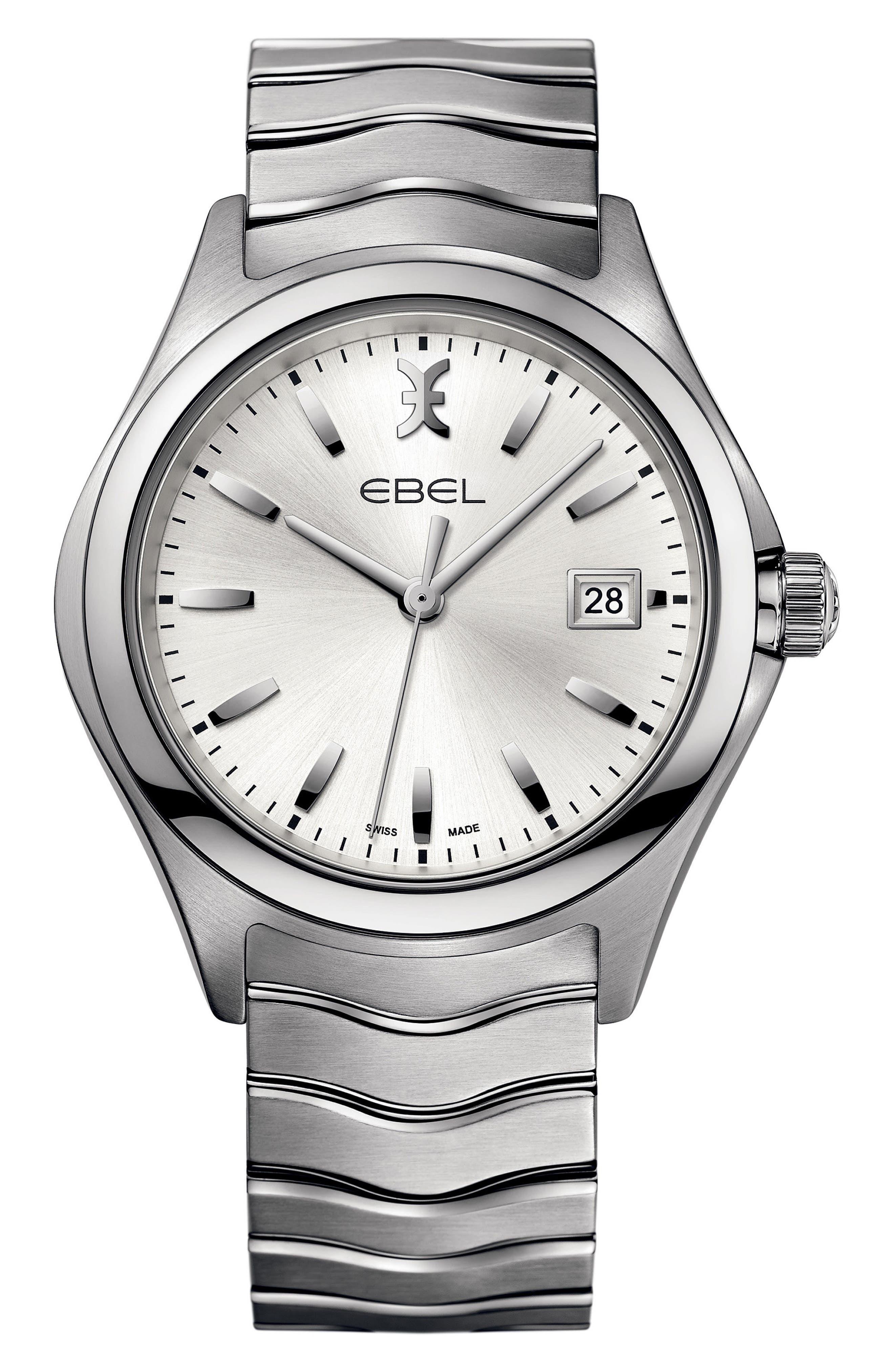 Wave Bracelet Watch, 40mm,                         Main,                         color, Silver