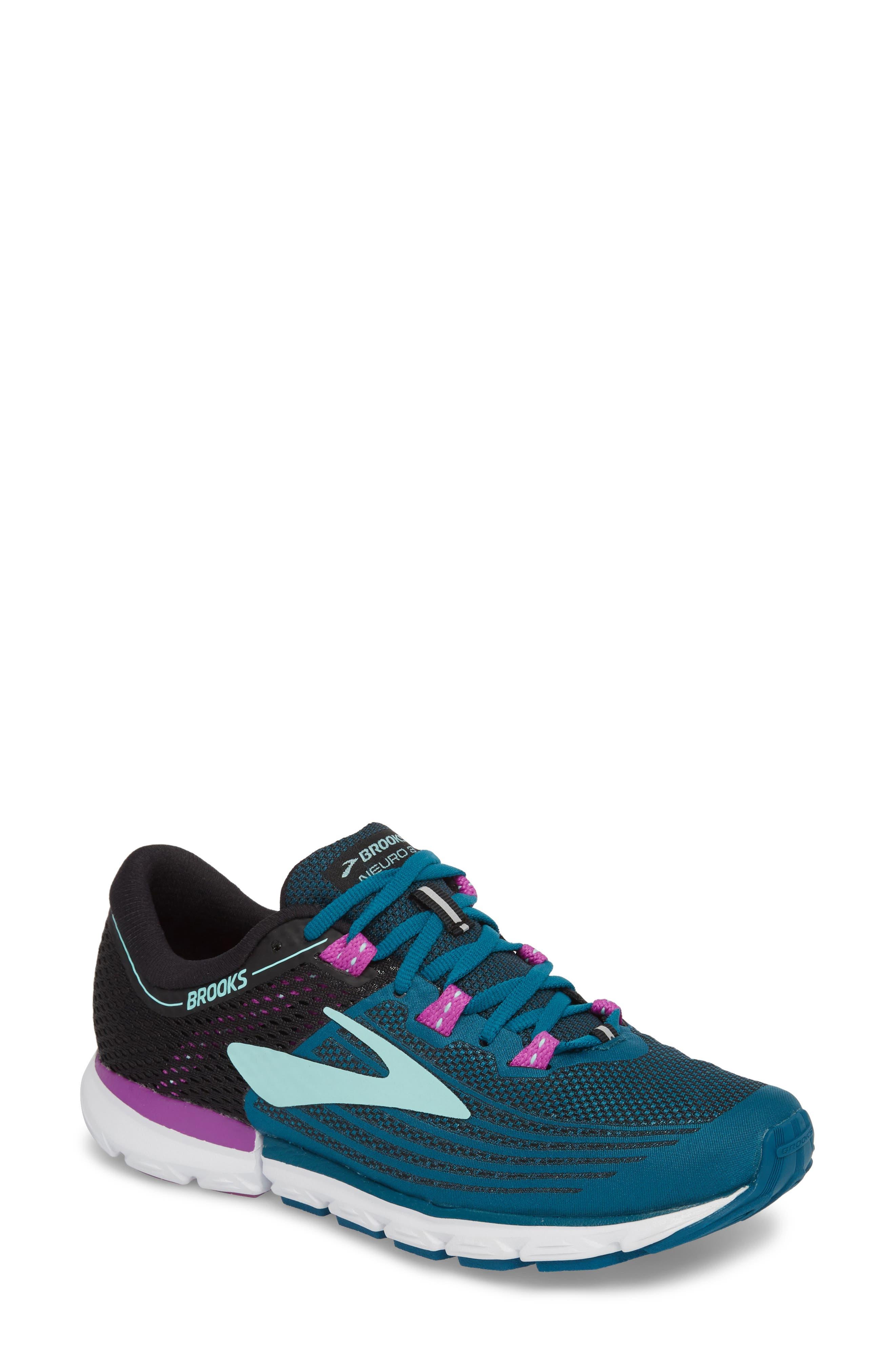 Neuro 3 Running Shoe,                             Main thumbnail 1, color,                             Lagoon/ Black/ Purple