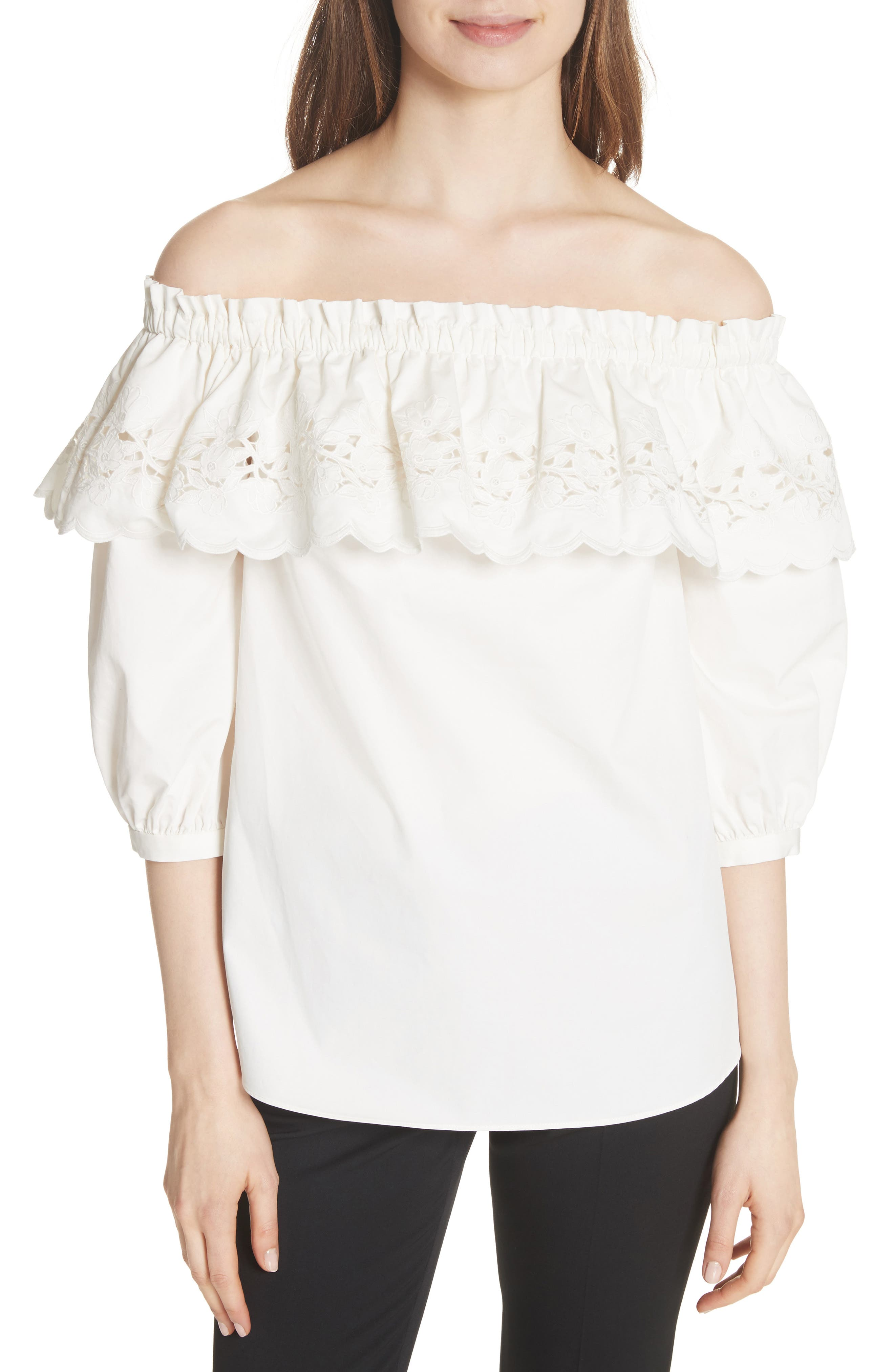 cutwork off the shoulder top,                         Main,                         color, Fresh White