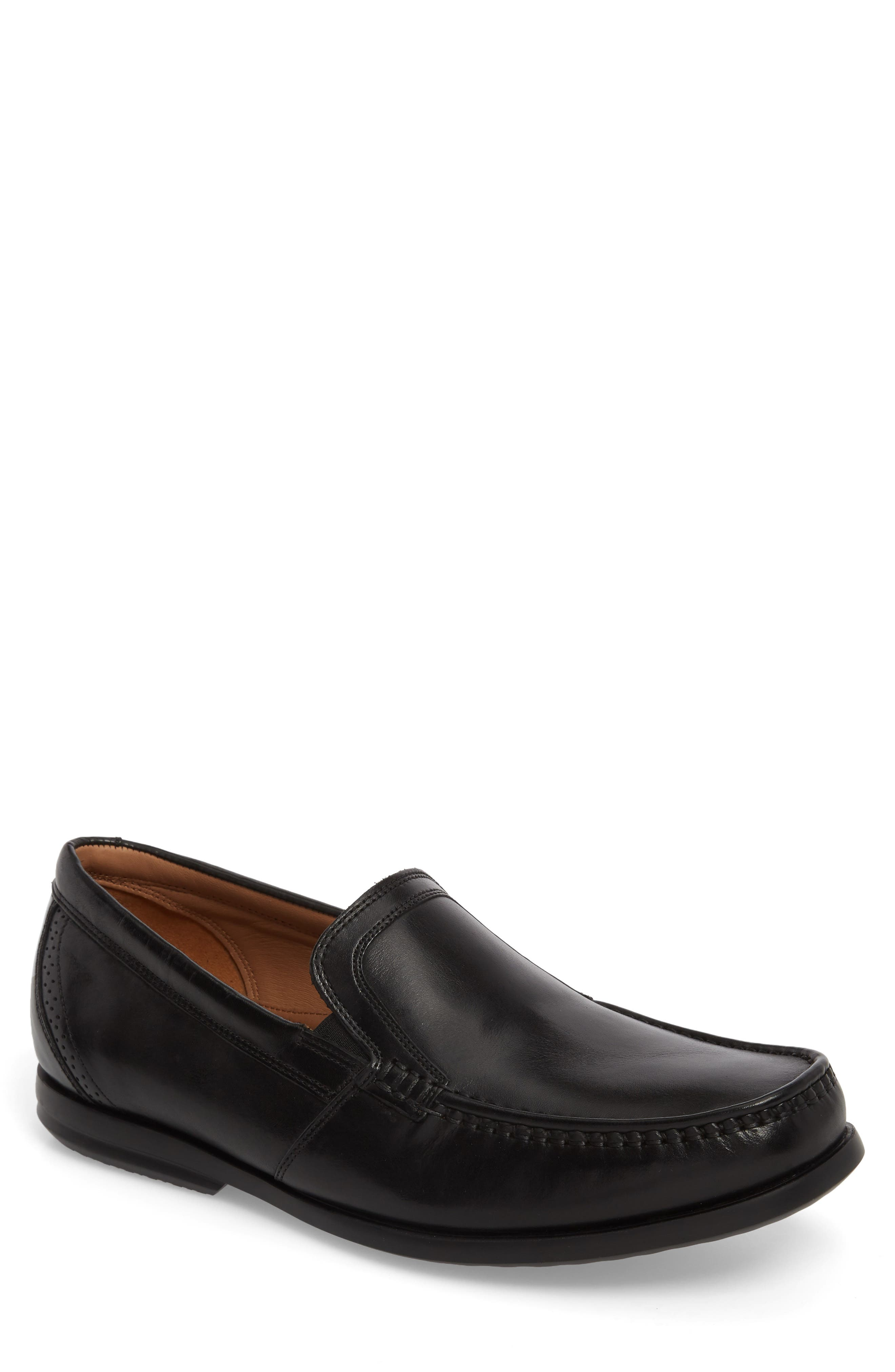 Clarks<sup>®</sup> Ungala Free Venetian Loafer,                         Main,                         color, Black Leather