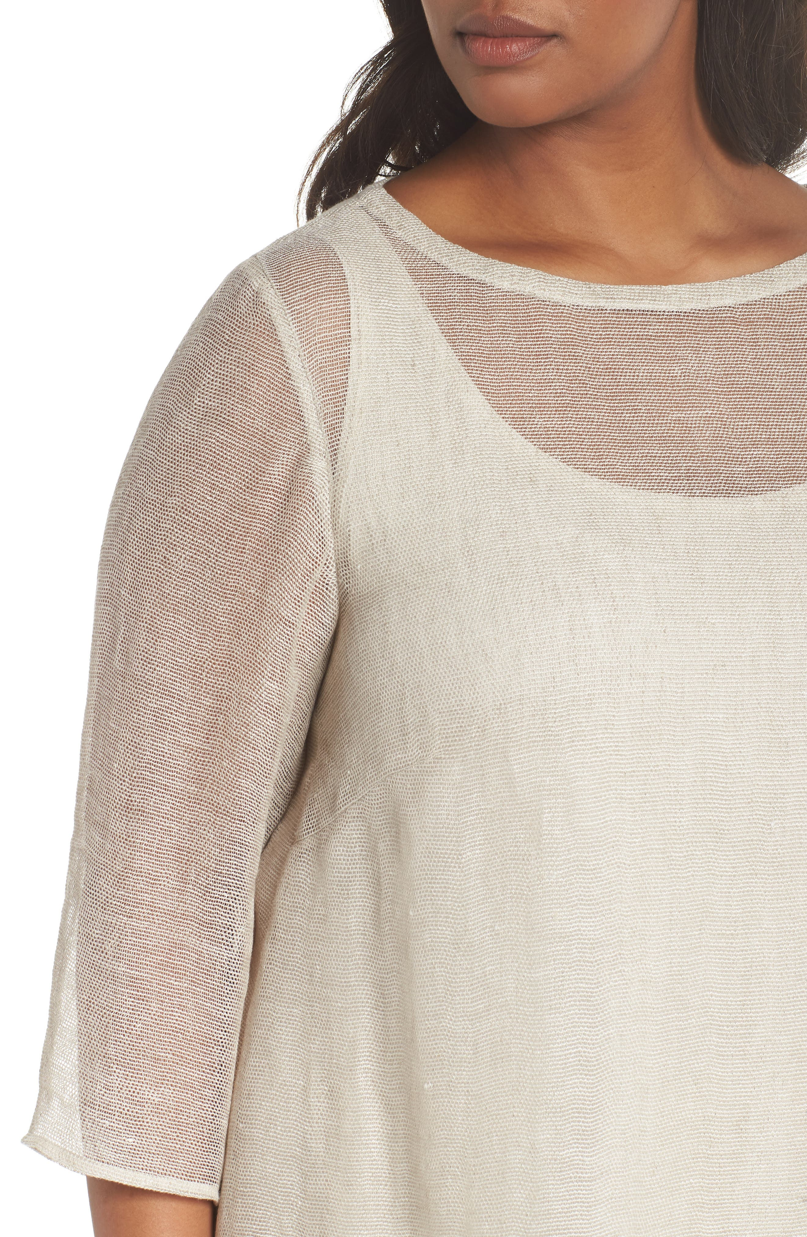 Organic Linen Mesh Tunic,                             Alternate thumbnail 4, color,                             Undyed Natural
