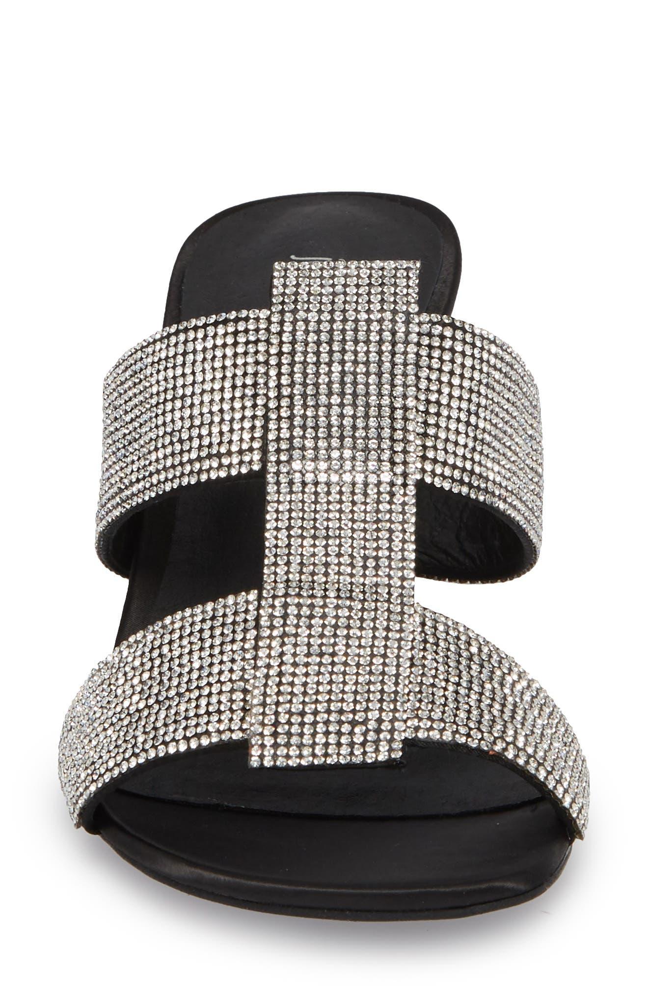 Tartine Embellished Slide Sandal,                             Alternate thumbnail 4, color,                             Black Satin/ Silver