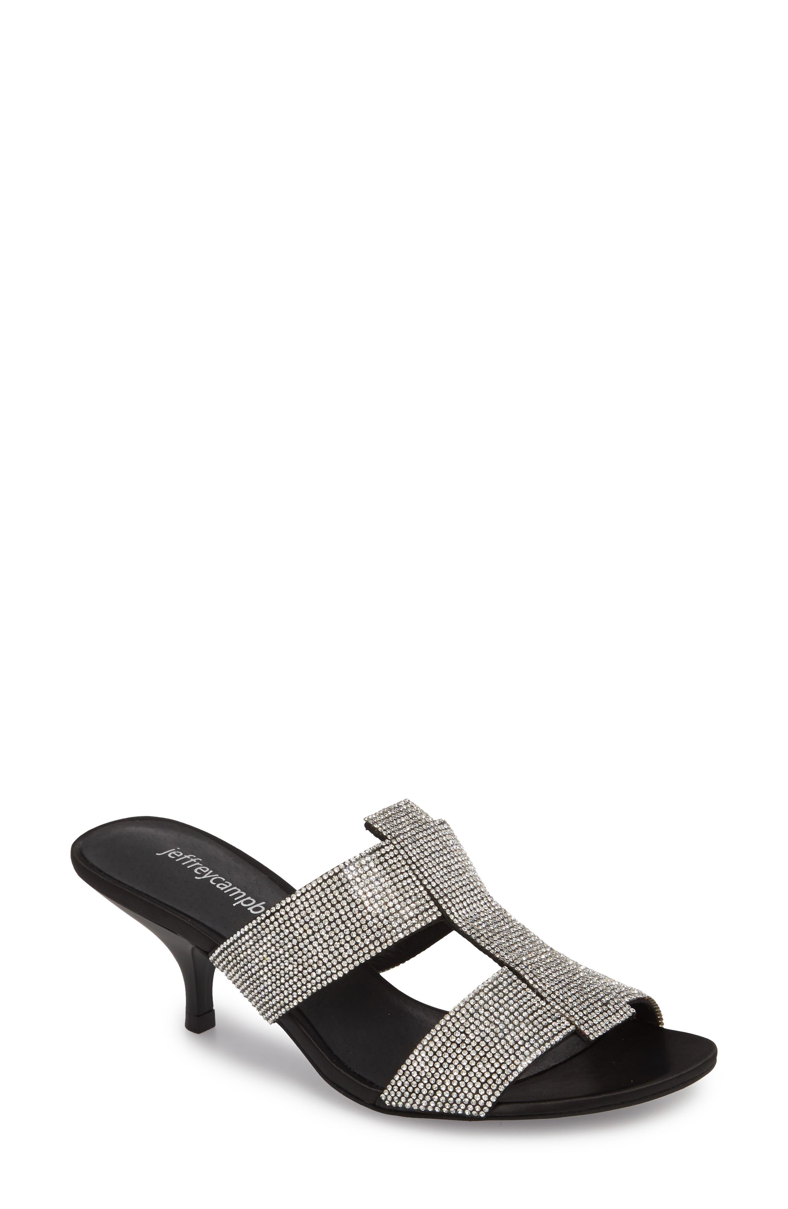 Tartine Embellished Slide Sandal,                         Main,                         color, Black Satin/ Silver
