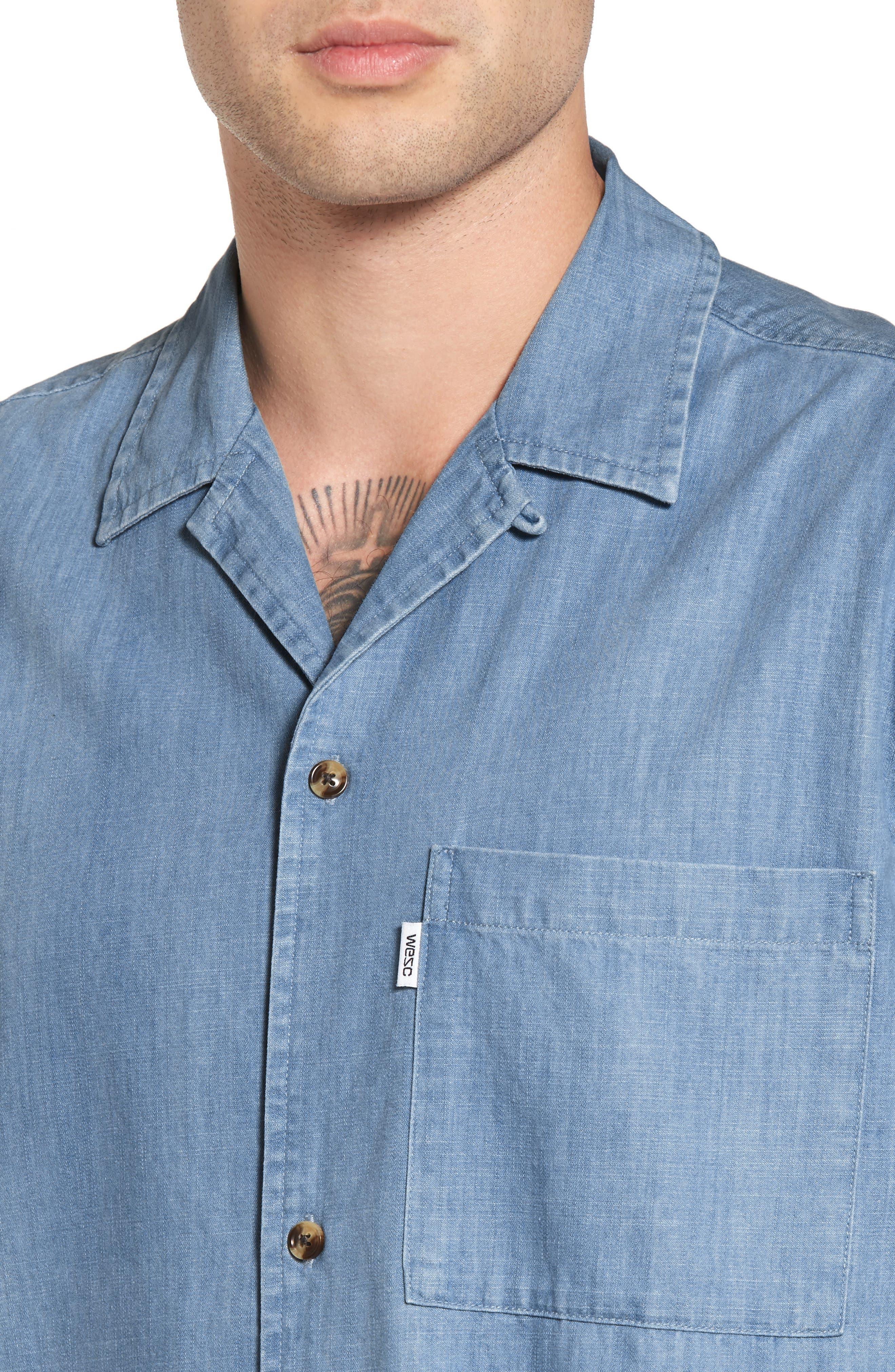 Nevin Short Sleeve Denim Shirt,                             Alternate thumbnail 4, color,                             Polar Blue