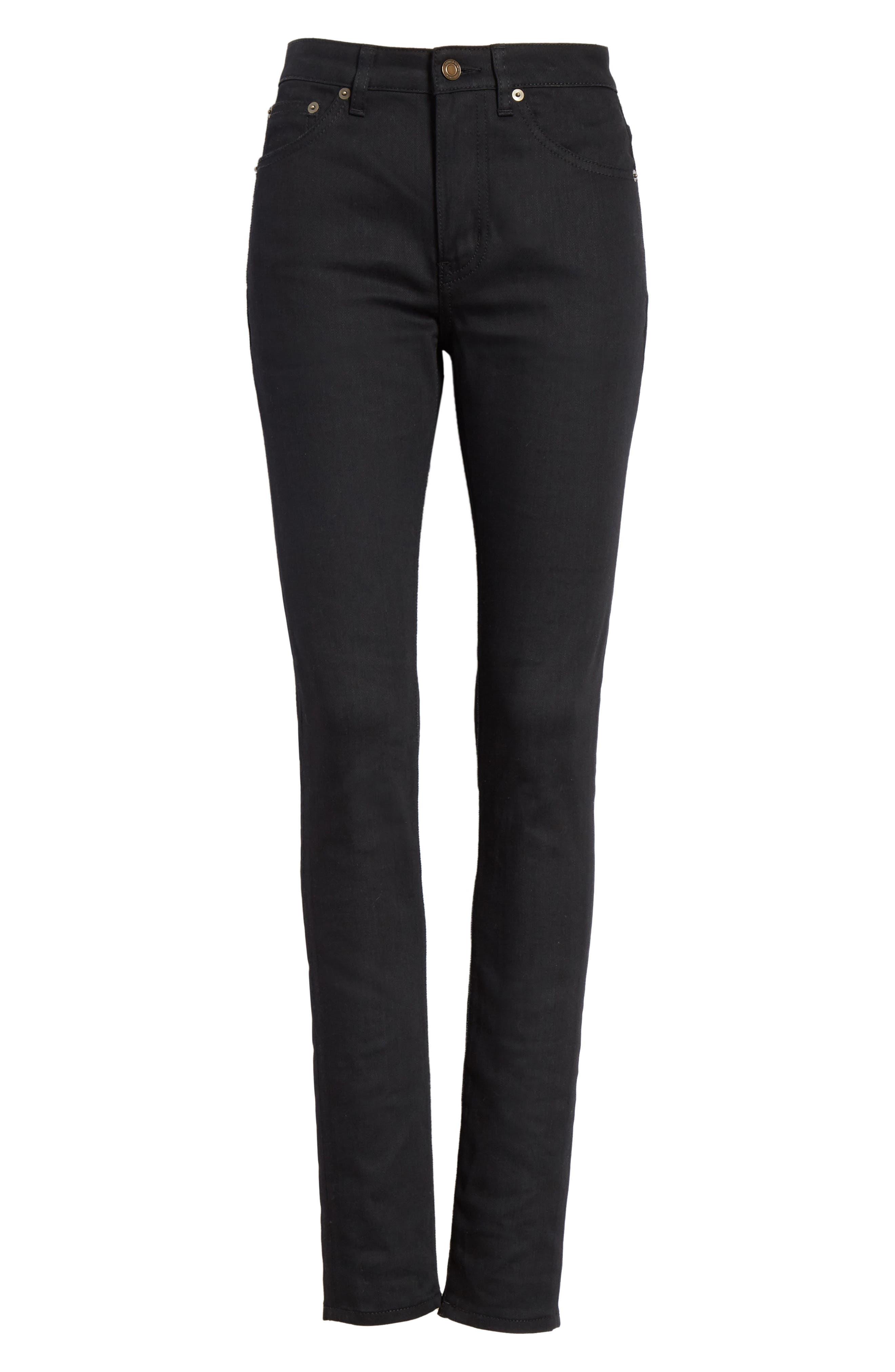 Coated Skinny Jeans,                             Alternate thumbnail 6, color,                             Used Black