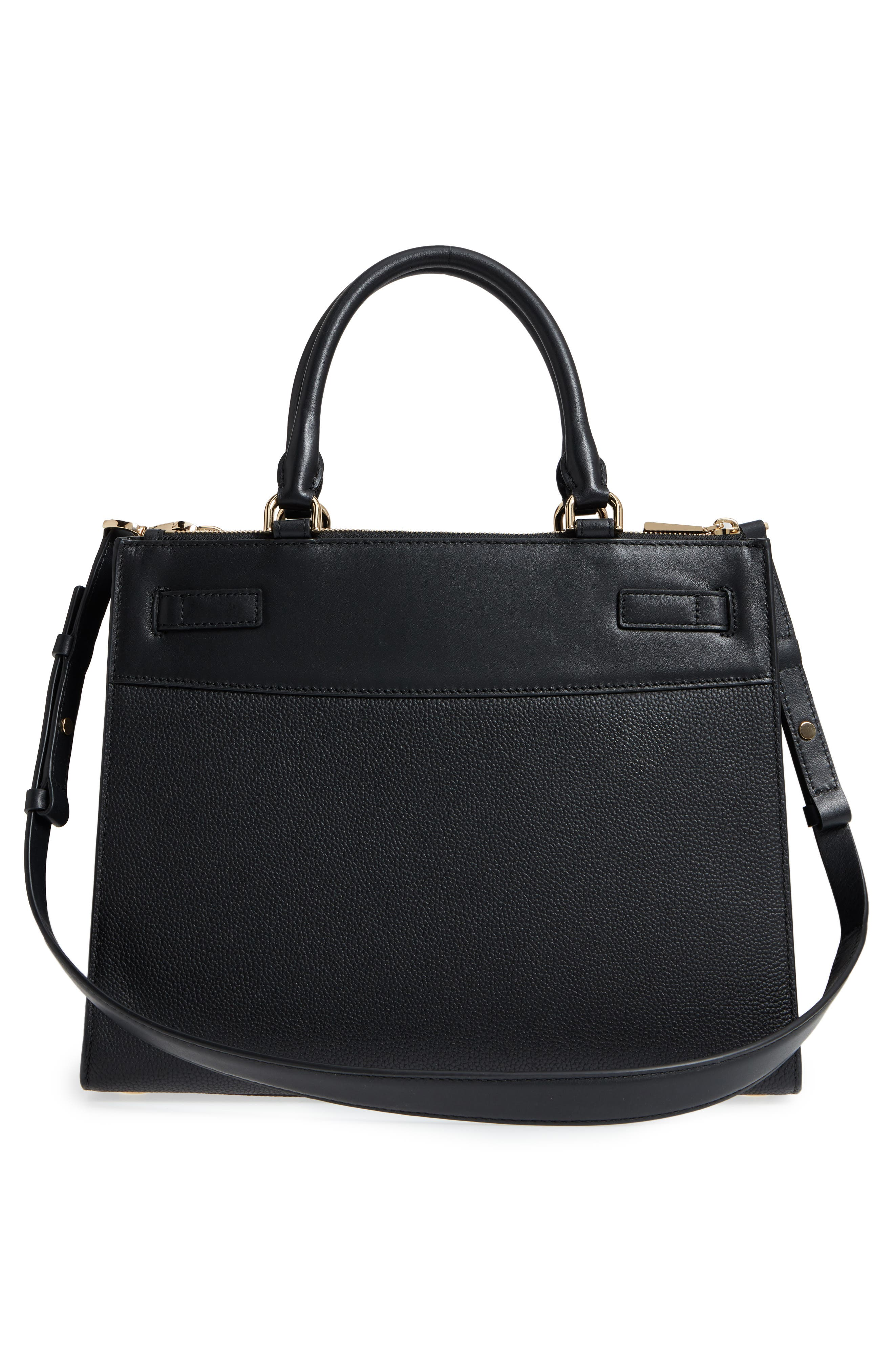 Reagan Large Leather Satchel,                             Alternate thumbnail 4, color,                             Black