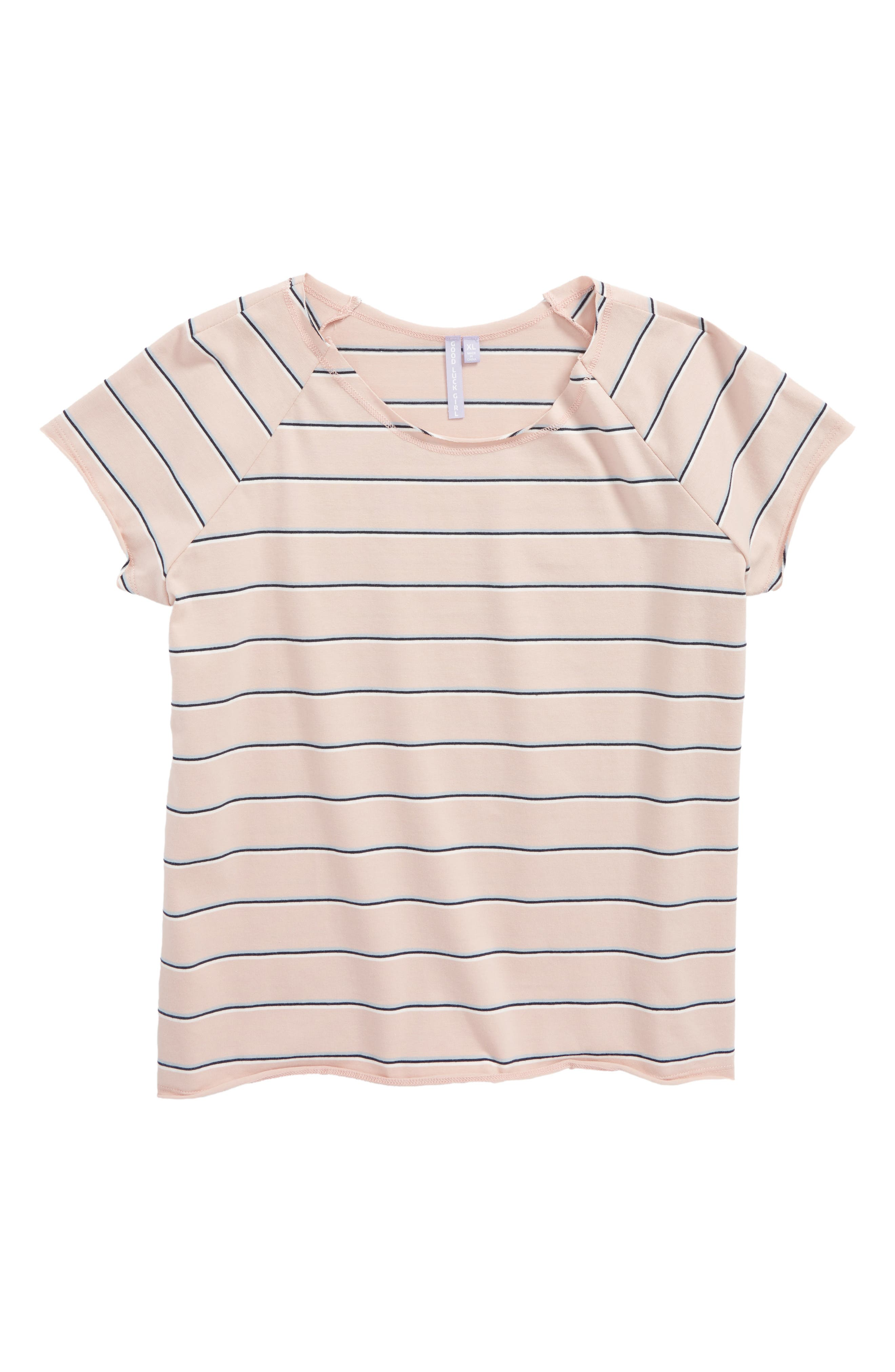Good Luck Gem Stripe Stretch Cotton Tee,                         Main,                         color, Pink Stripe