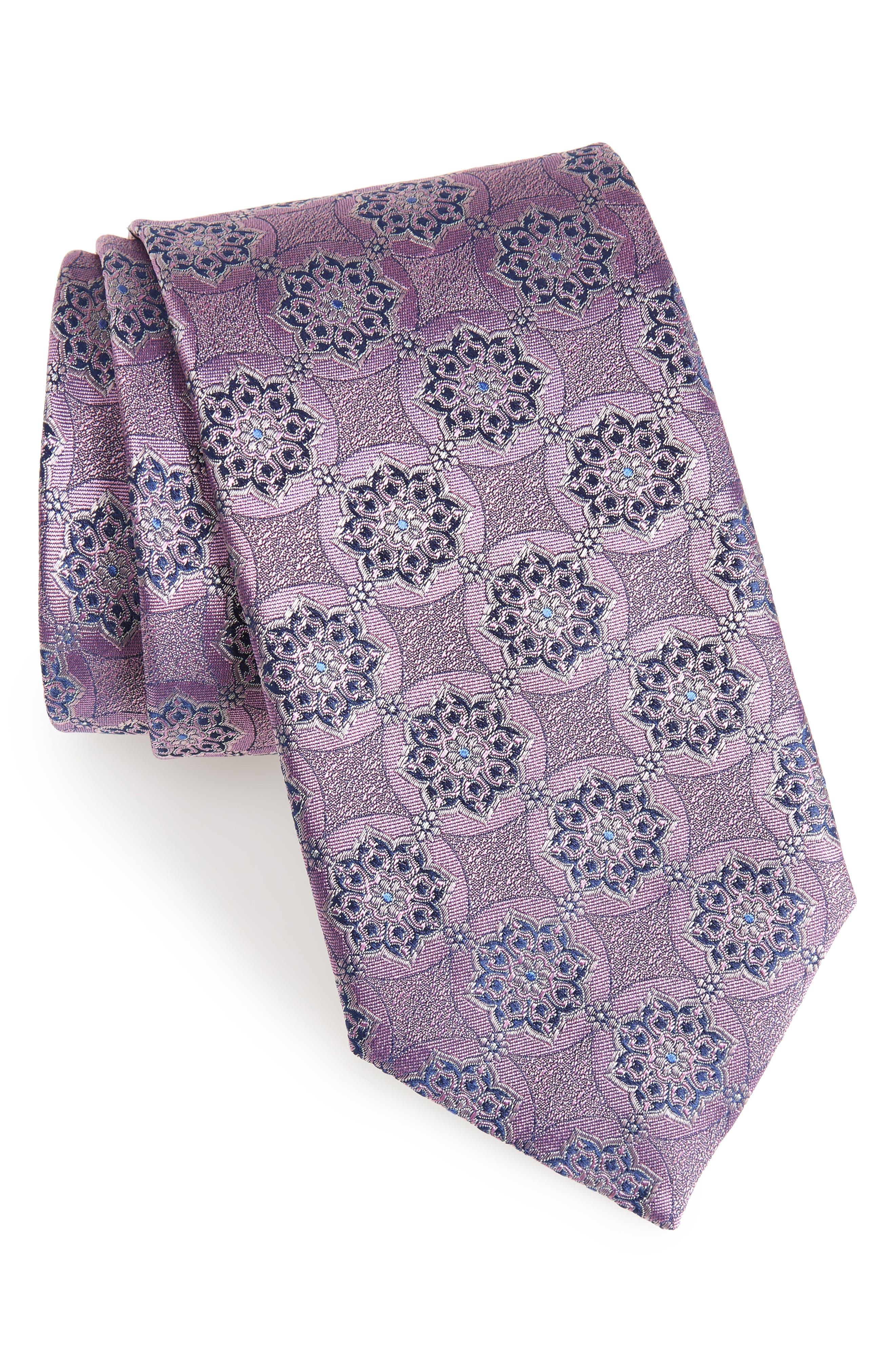 Medallion Silk Tie,                         Main,                         color, Medium Pink