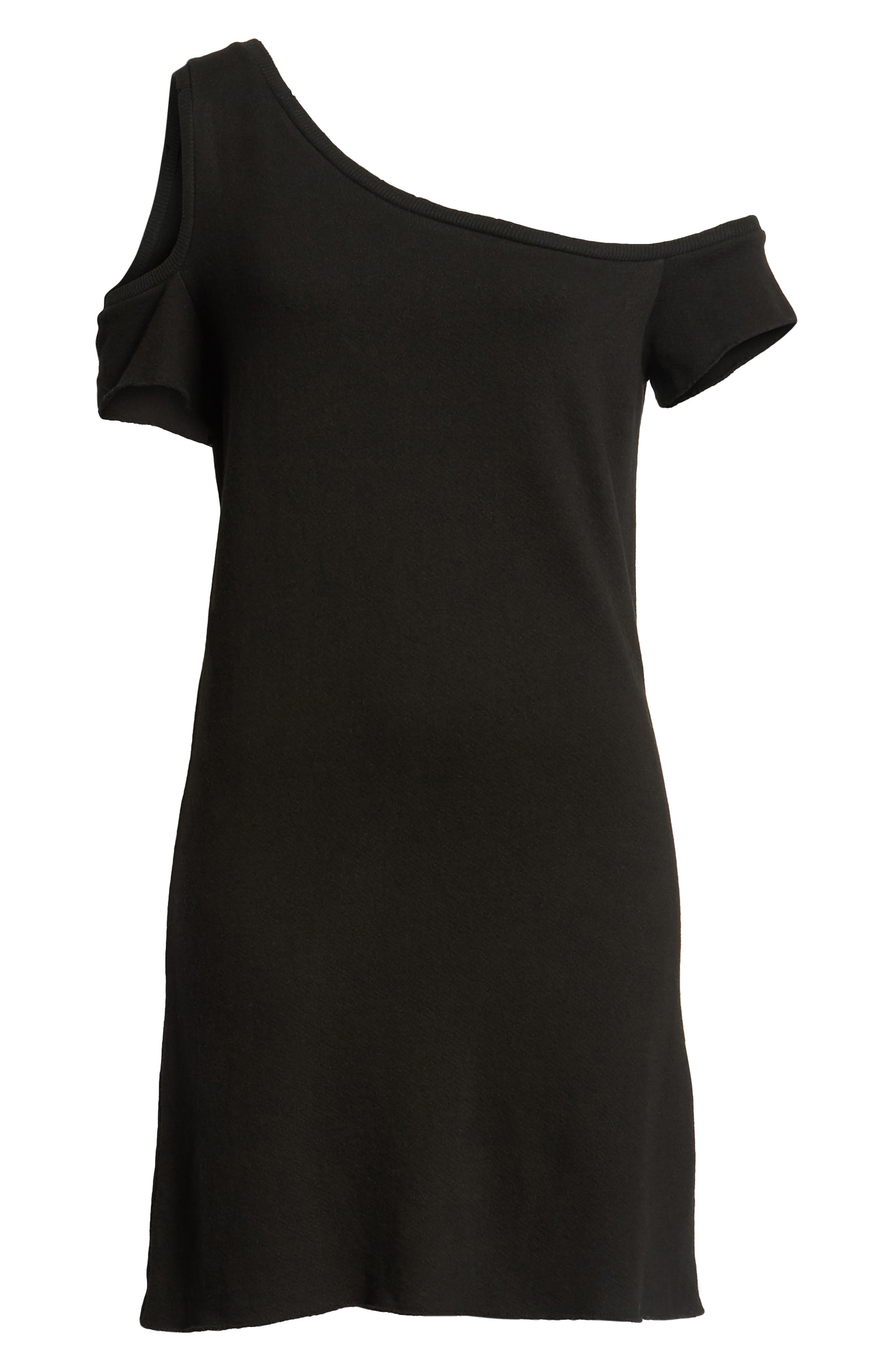 Camino One-Shoulder Dress,                             Alternate thumbnail 6, color,                             Black Cat
