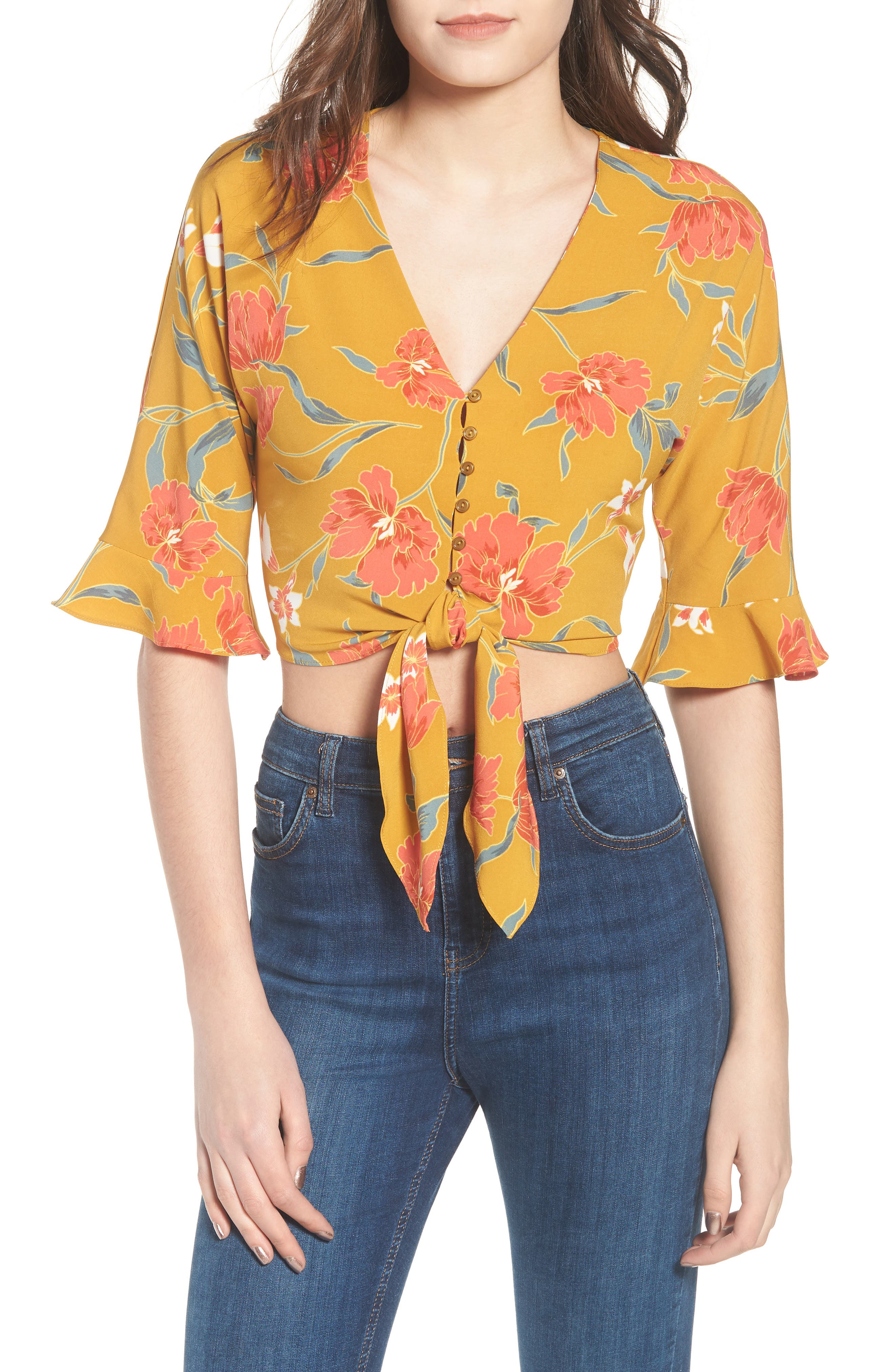 Tie Front Crop Top,                             Main thumbnail 1, color,                             Mustard Multi Floral