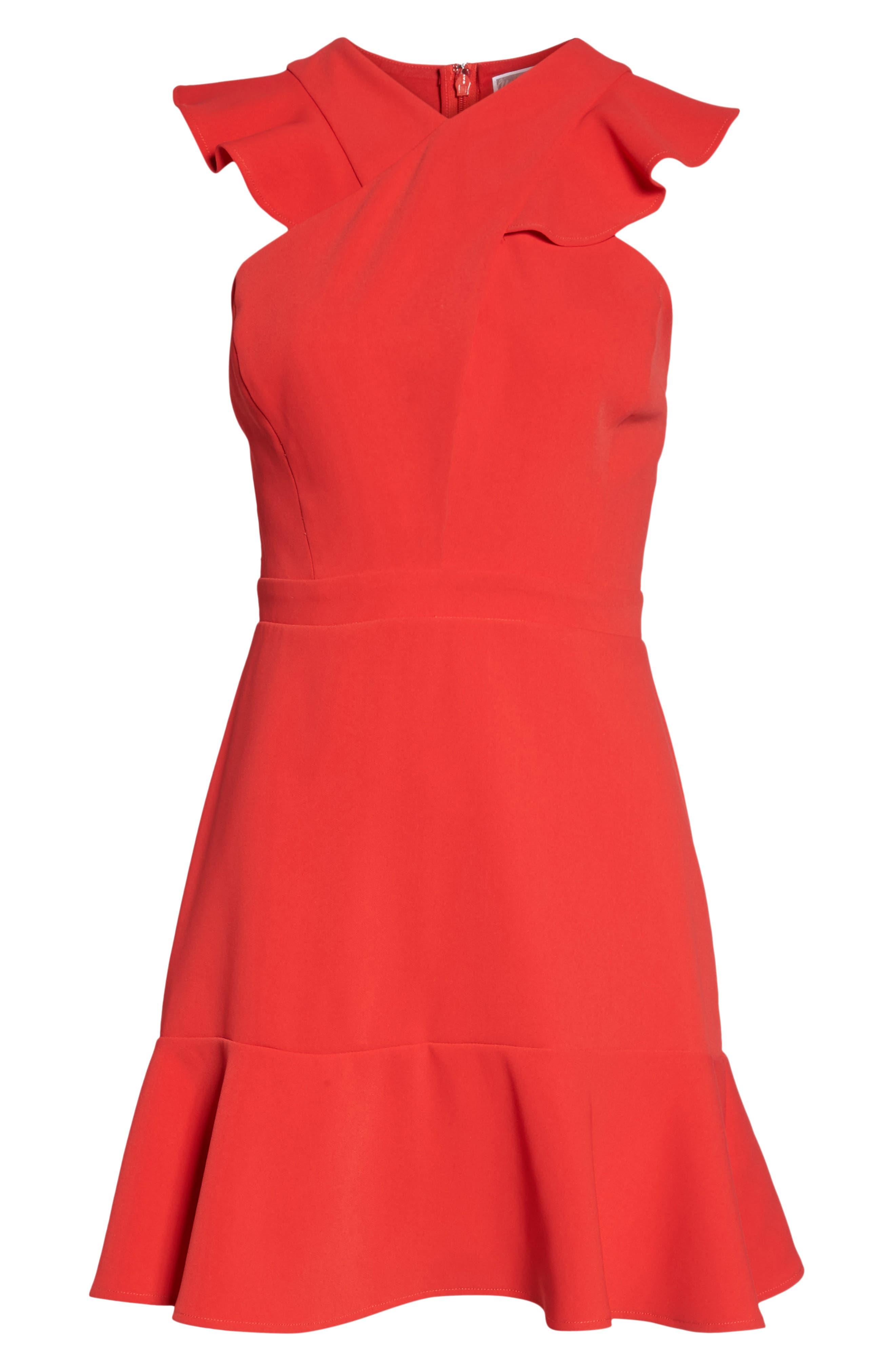 Cross Front Ruffle Dress,                             Alternate thumbnail 4, color,                             Red Mars