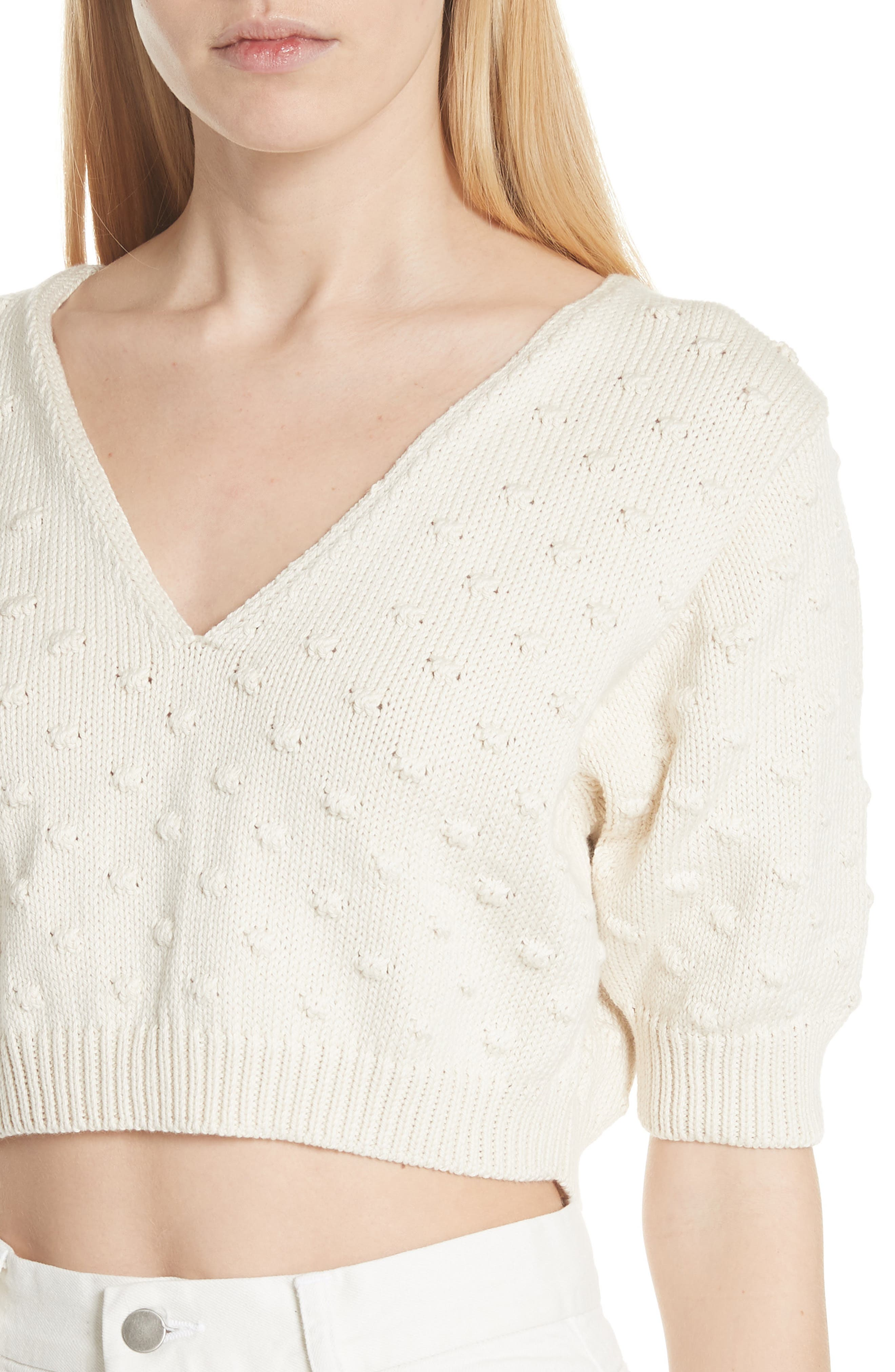 Ode Garbanzo Knit Crop Sweater,                             Alternate thumbnail 4, color,                             Ivory