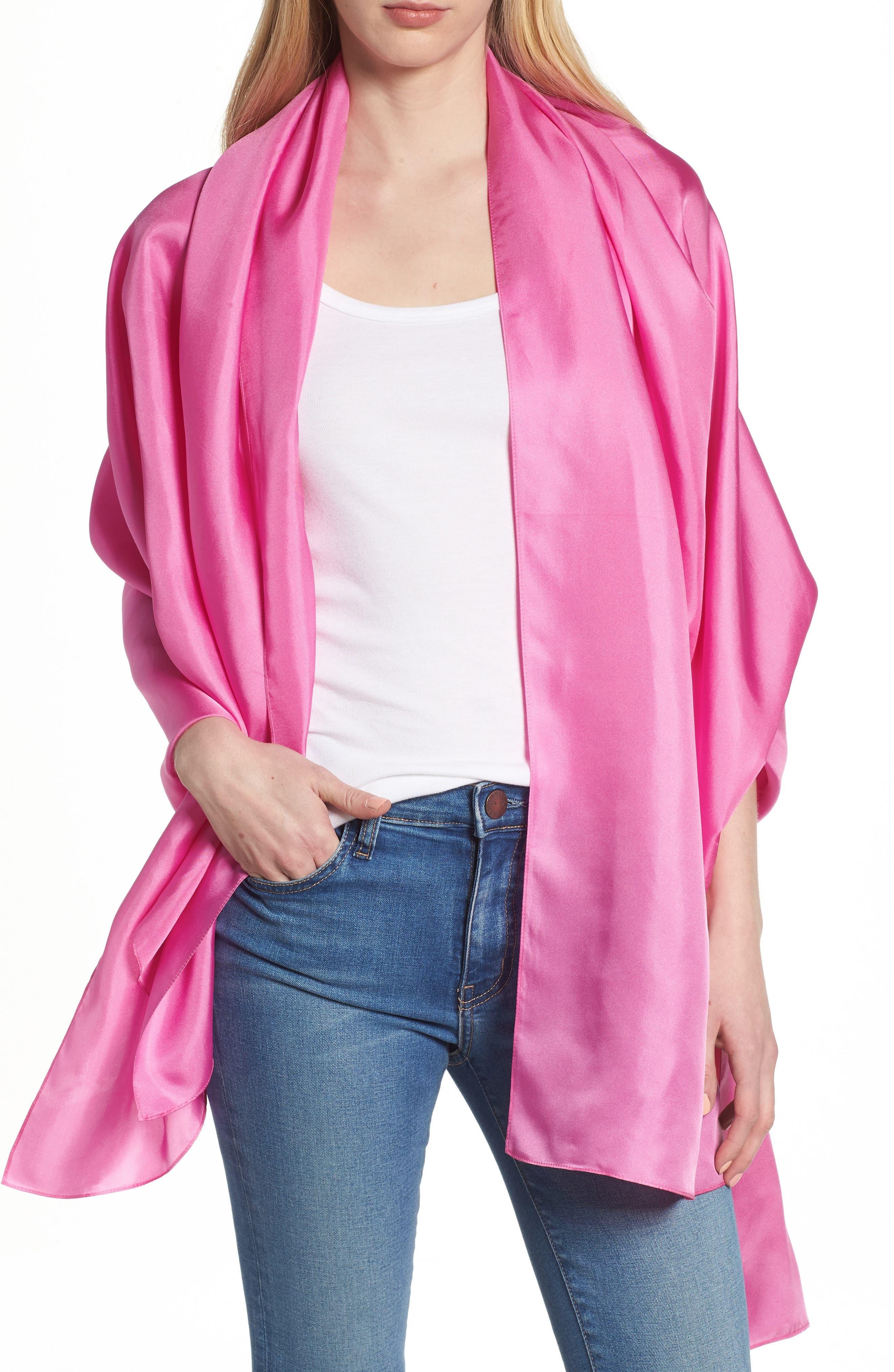 Everyday Silk Wrap,                         Main,                         color, Peony