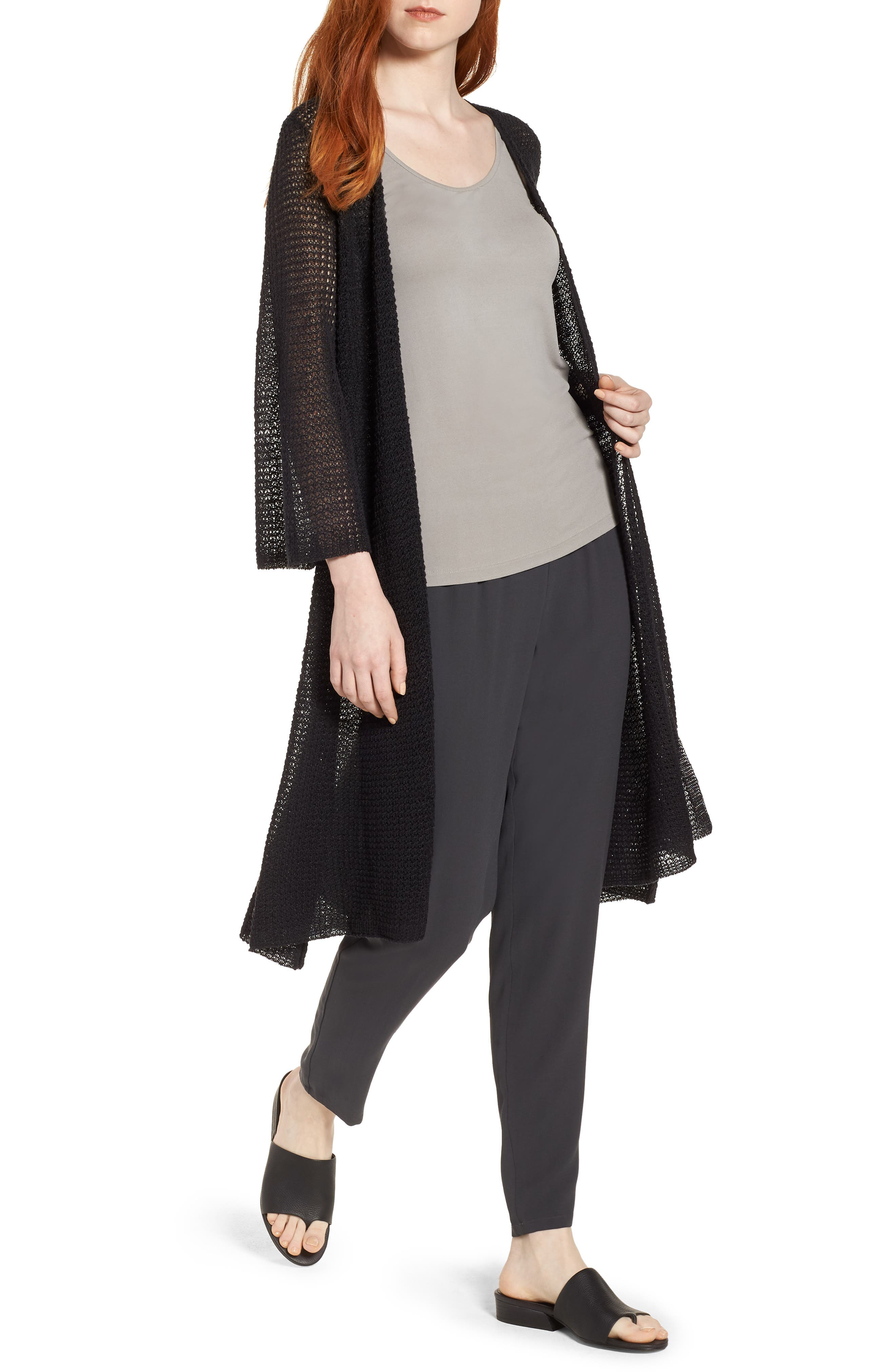 Long Organic Linen Cardigan,                             Main thumbnail 1, color,                             Black