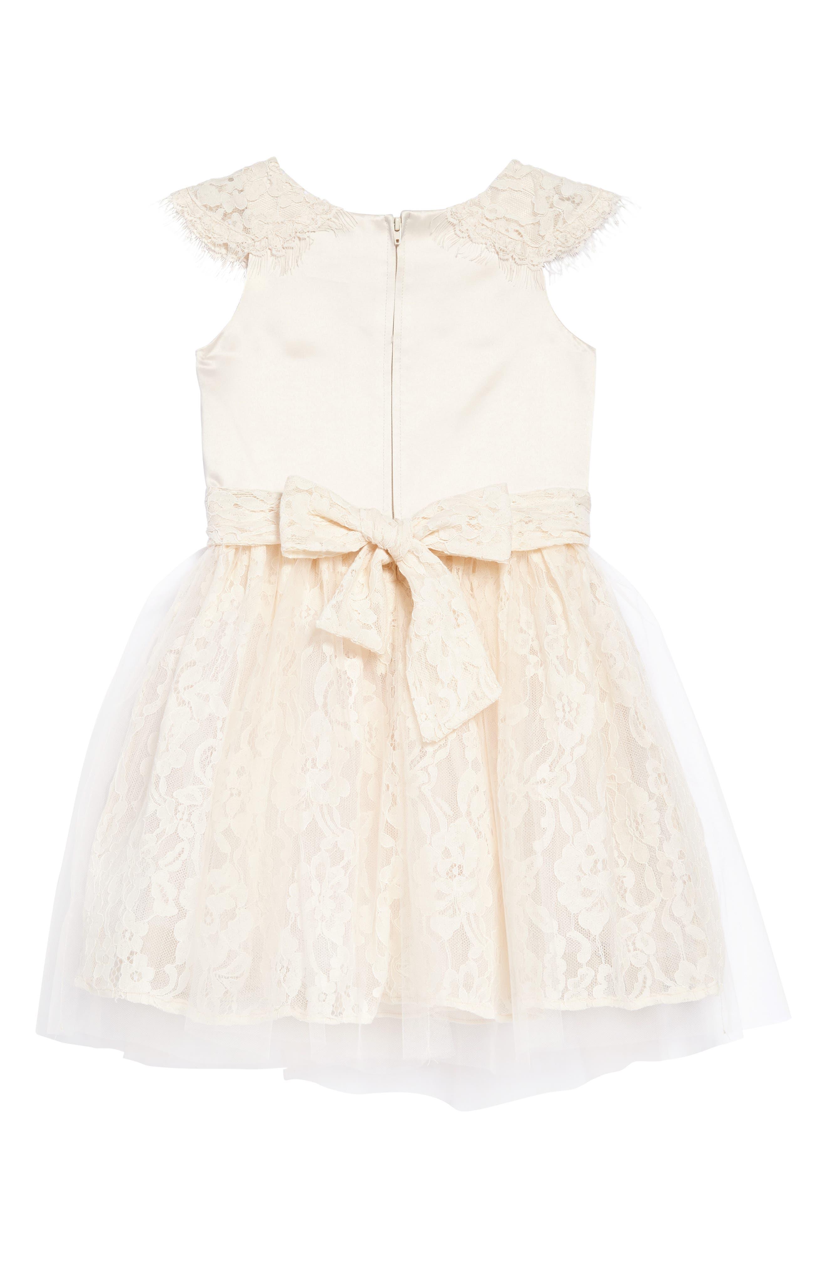 The Sarah Floral Lace Dress,                             Alternate thumbnail 2, color,                             Champagne