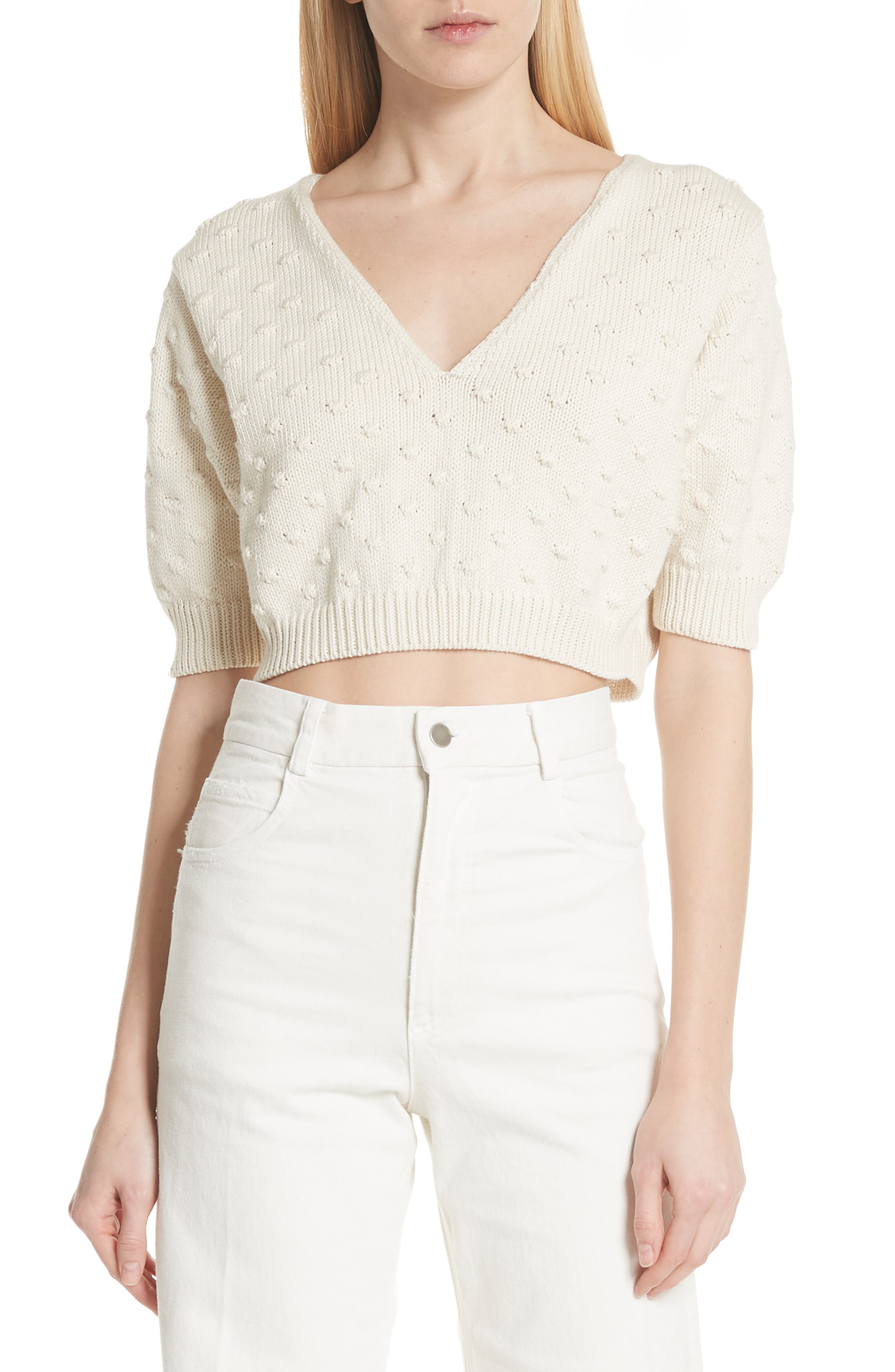 Ode Garbanzo Knit Crop Sweater,                             Main thumbnail 1, color,                             Ivory