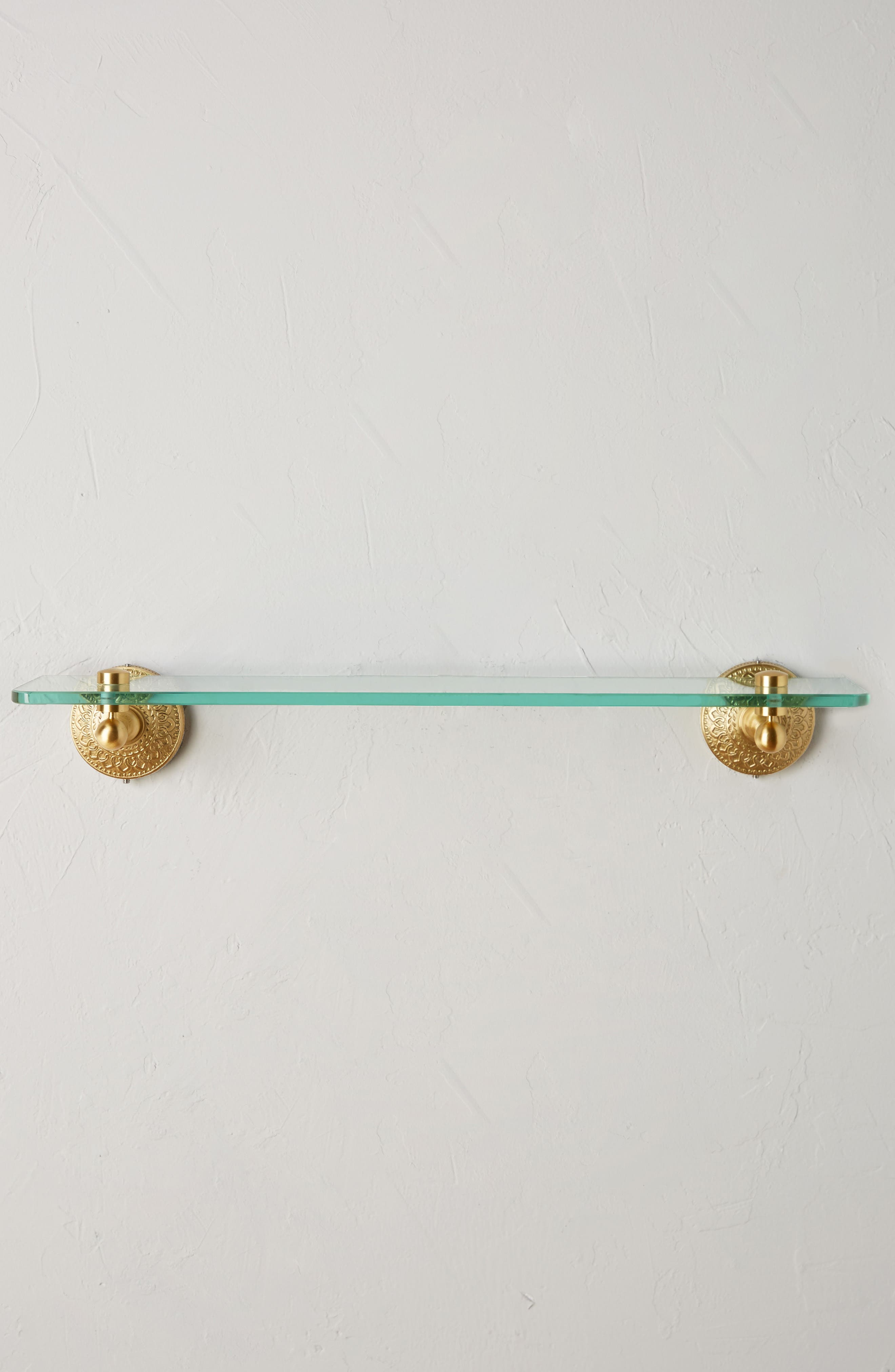 Brass Medallion Shelf,                             Main thumbnail 1, color,                             Honey