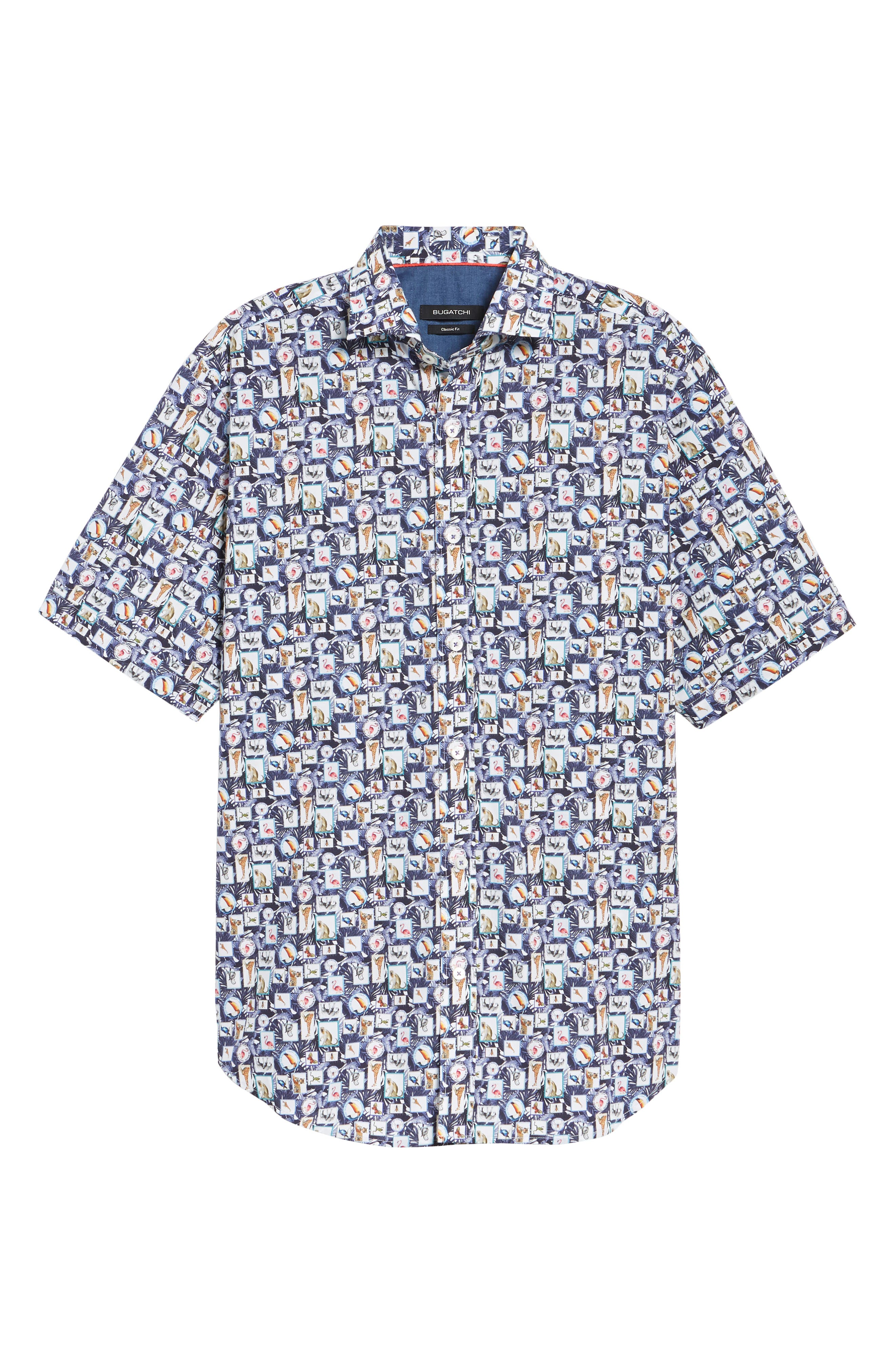 Animal Photo Collage Classic Fit Sport Shirt,                             Alternate thumbnail 6, color,                             Night Blue