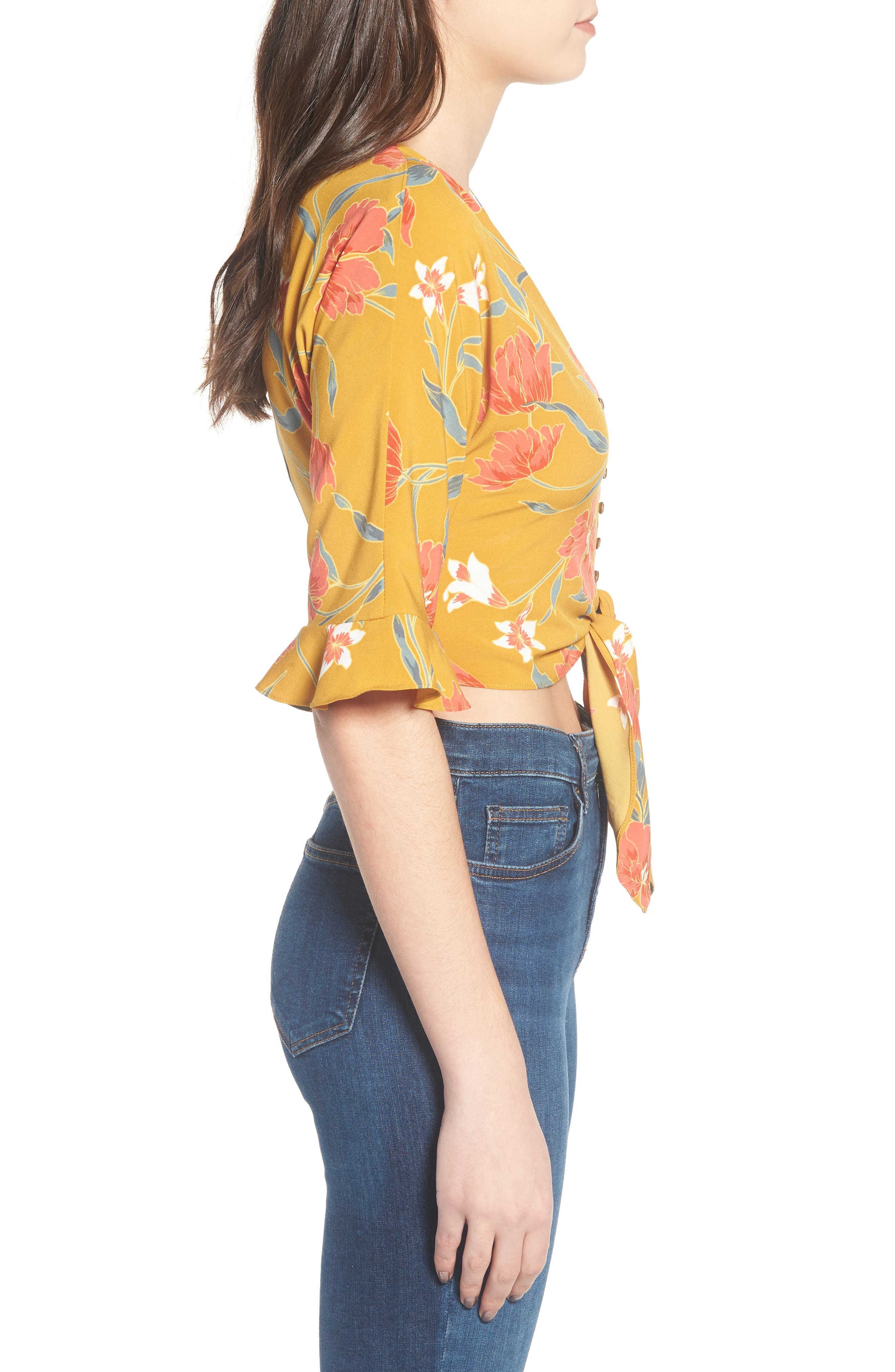 Tie Front Crop Top,                             Alternate thumbnail 3, color,                             Mustard Multi Floral