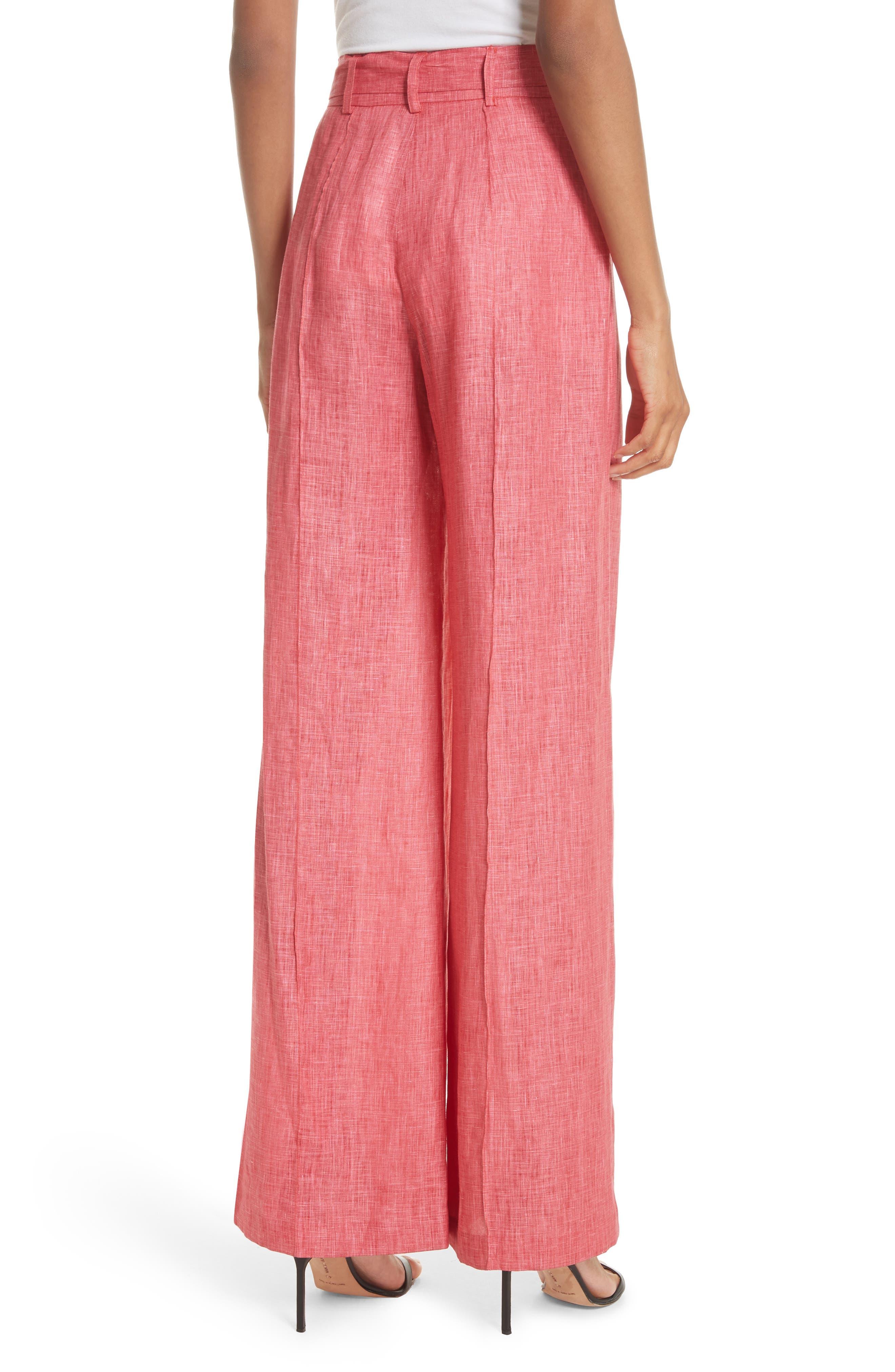 Hayden Belted Wide Leg Italian Linen Pants,                             Alternate thumbnail 2, color,                             Poppy