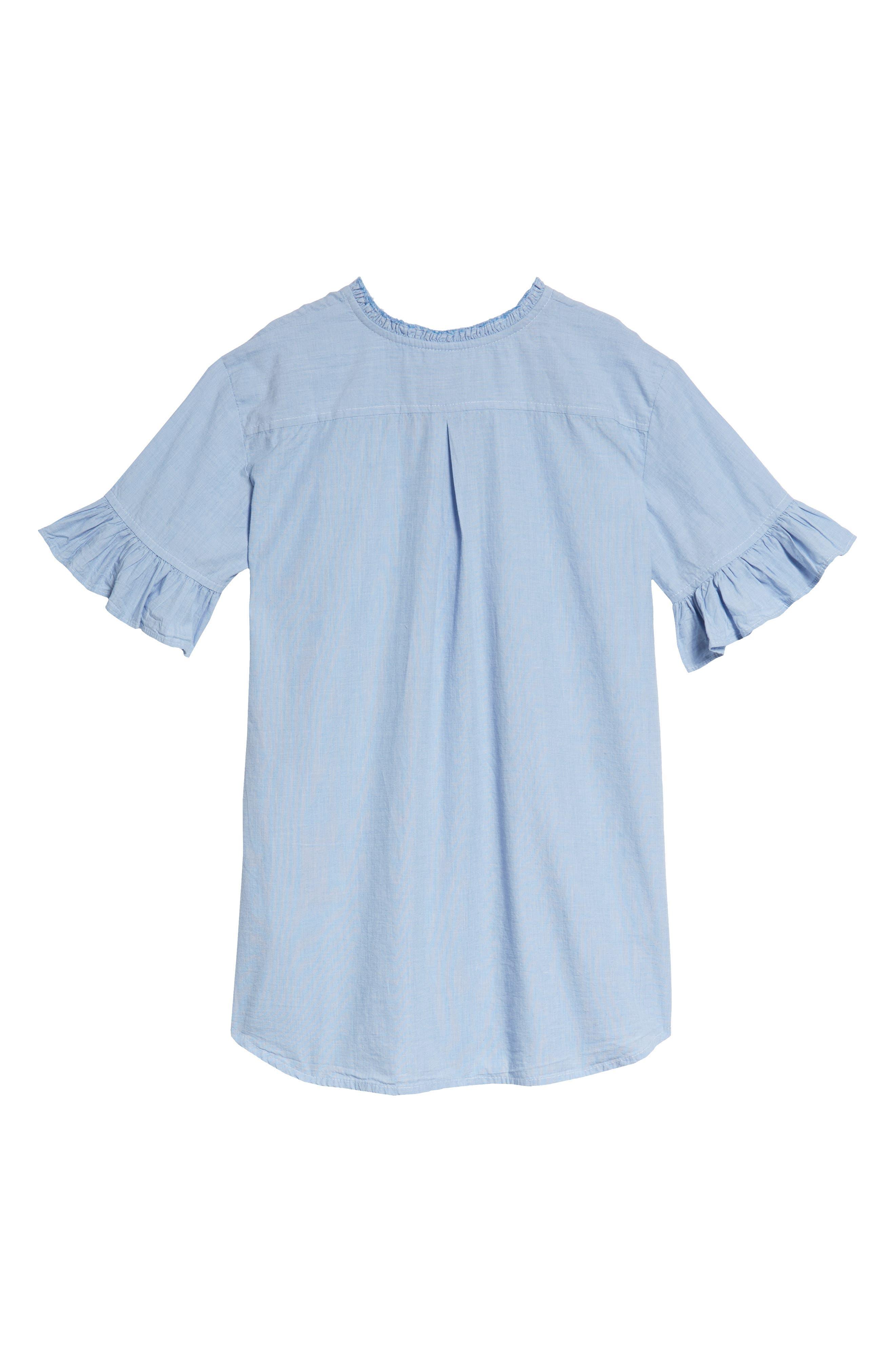 Ruffle Shirtdress,                             Alternate thumbnail 2, color,                             Blue Chambray Grid