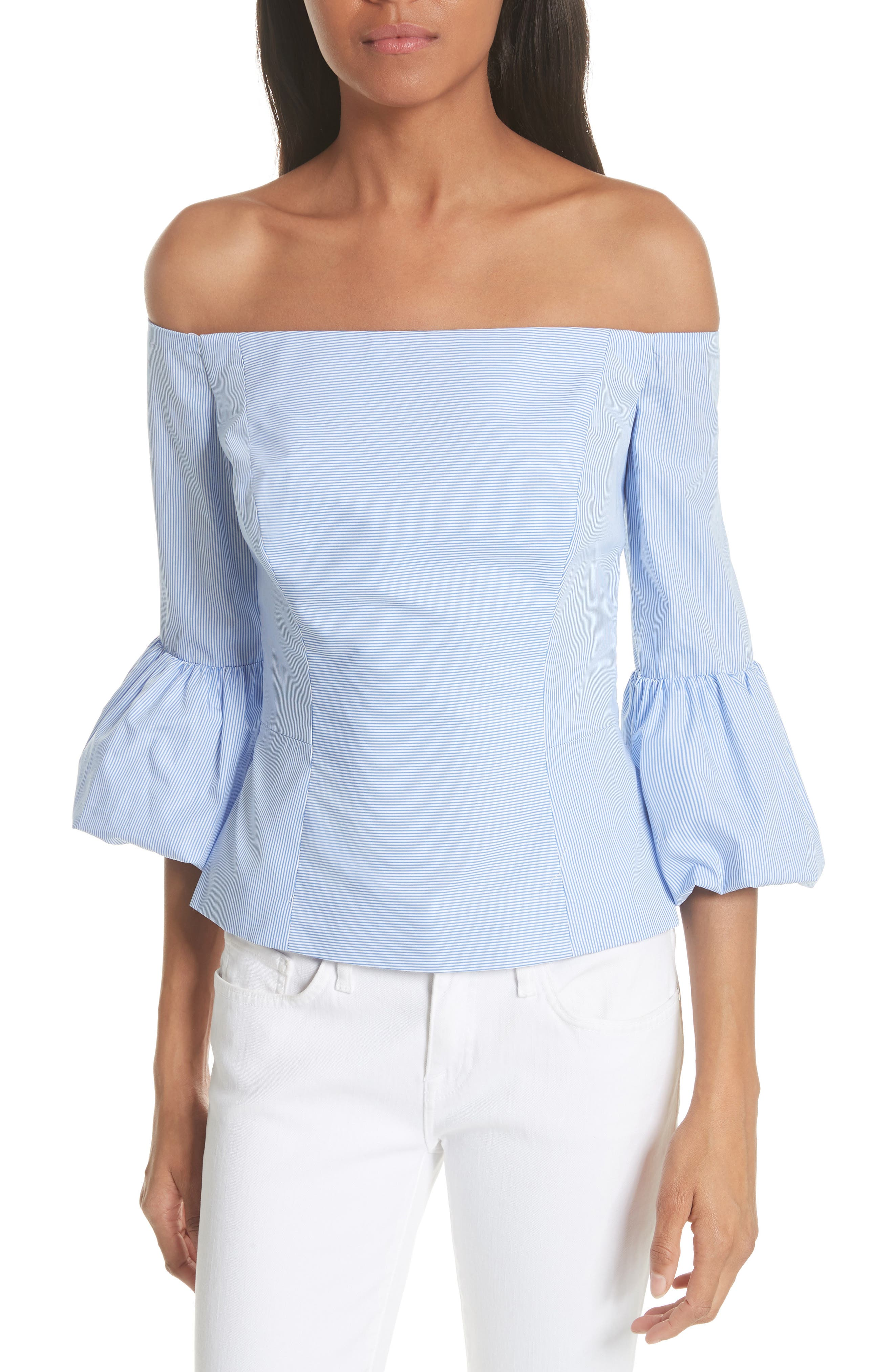 Milly Rachel Off the Shoulder Stripe Cotton Blouse