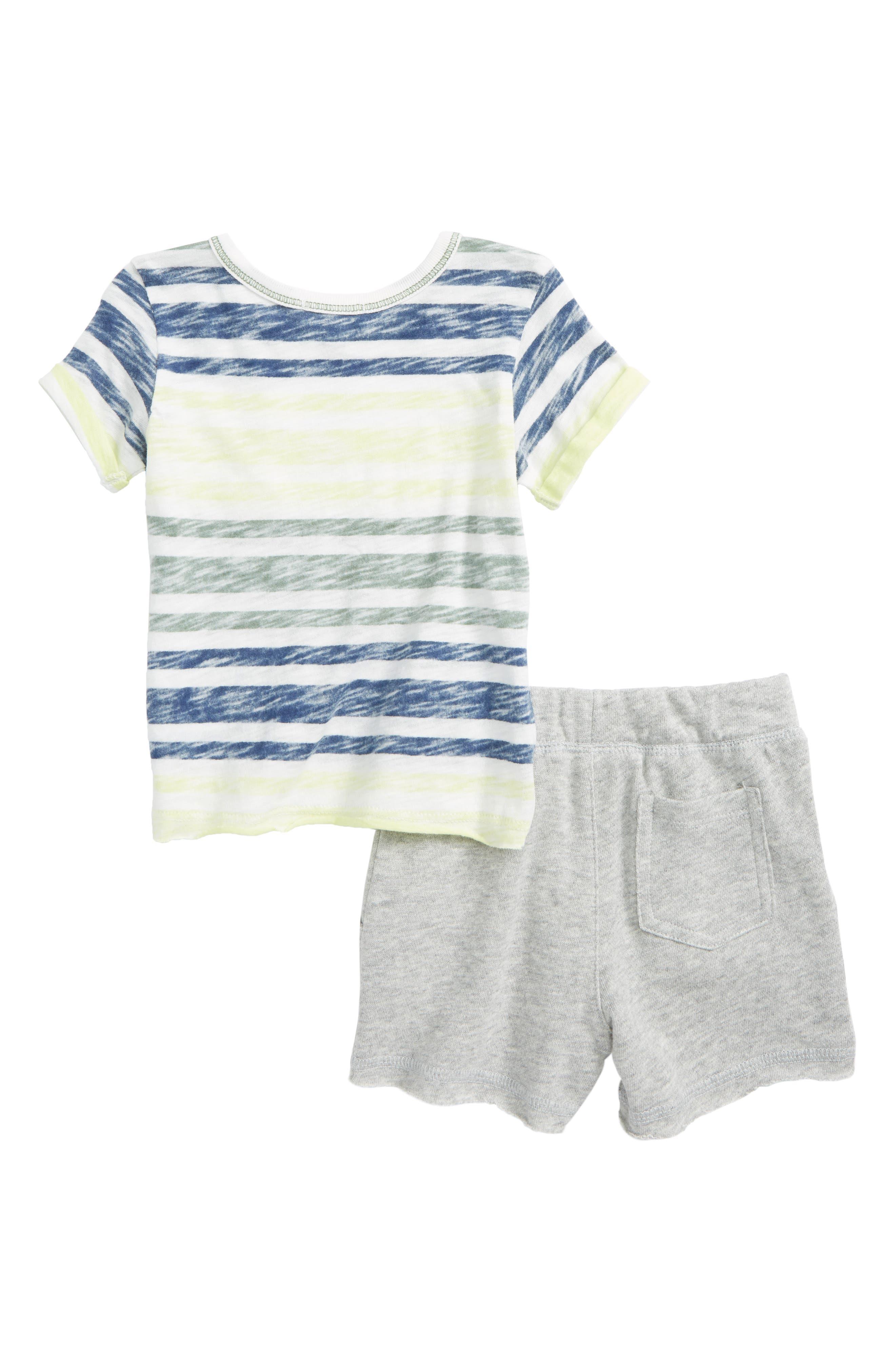 Reverse Stripe Top & Shorts Set,                             Alternate thumbnail 2, color,                             White