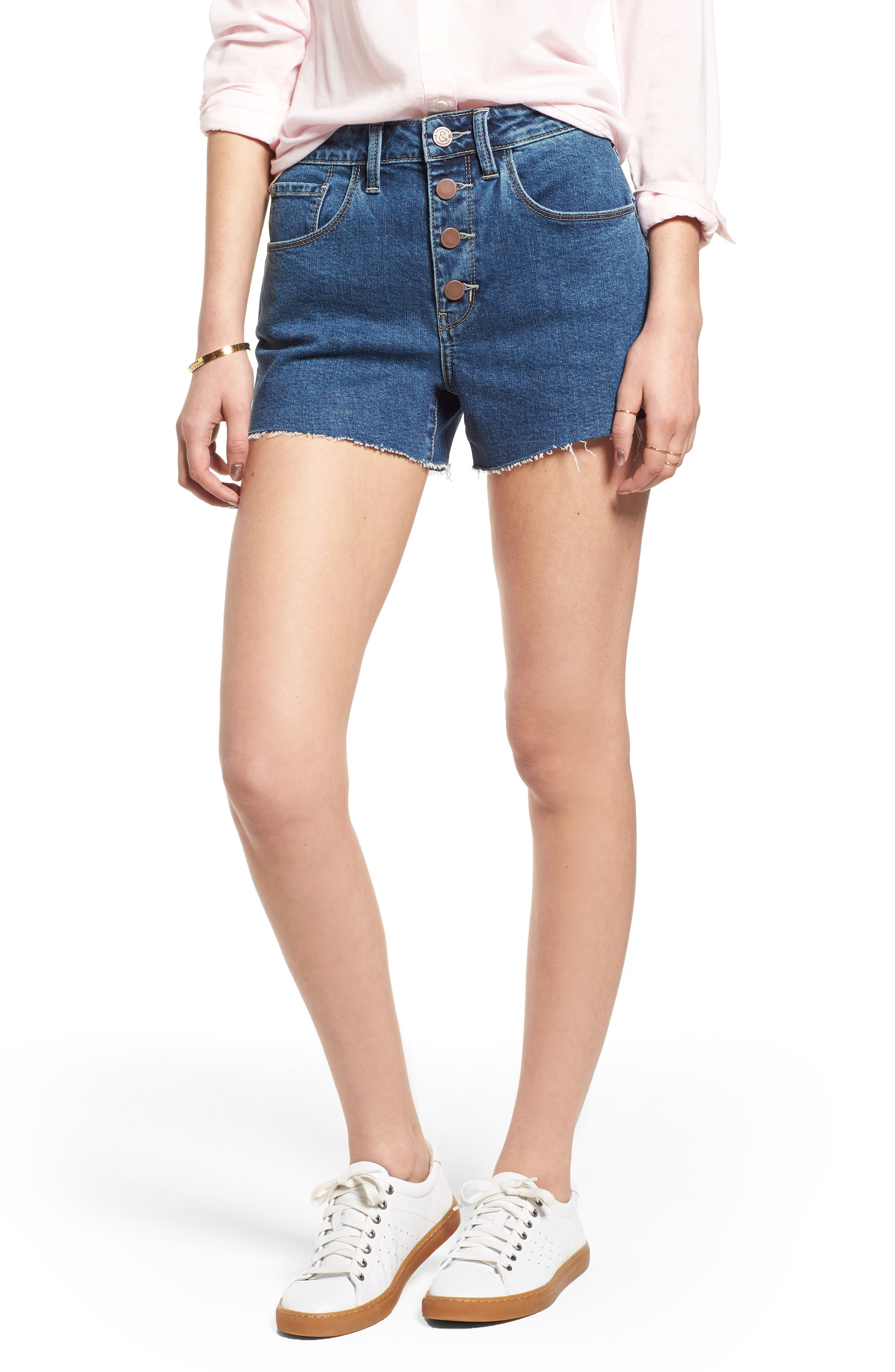 High Waist Cutoff Denim Shorts,                         Main,                         color, Gravel Medium Clean