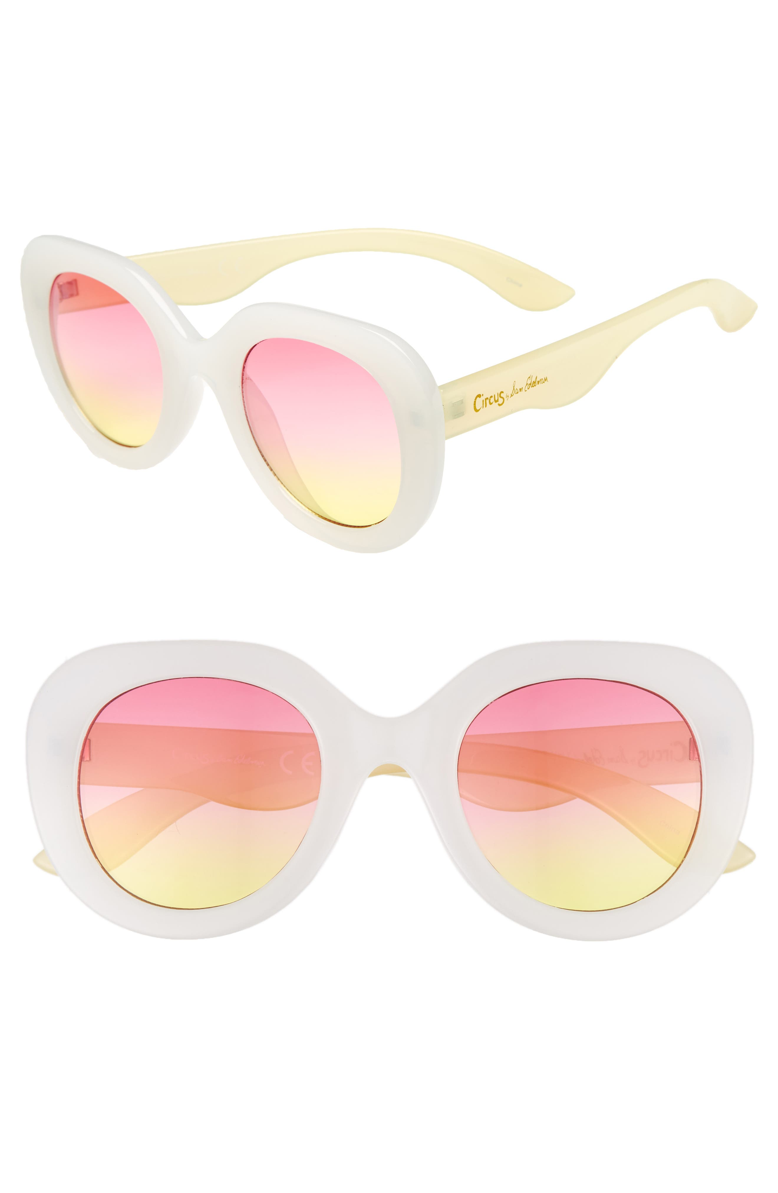 45mm Round Sunglasses,                             Main thumbnail 1, color,                             White/ Yellow