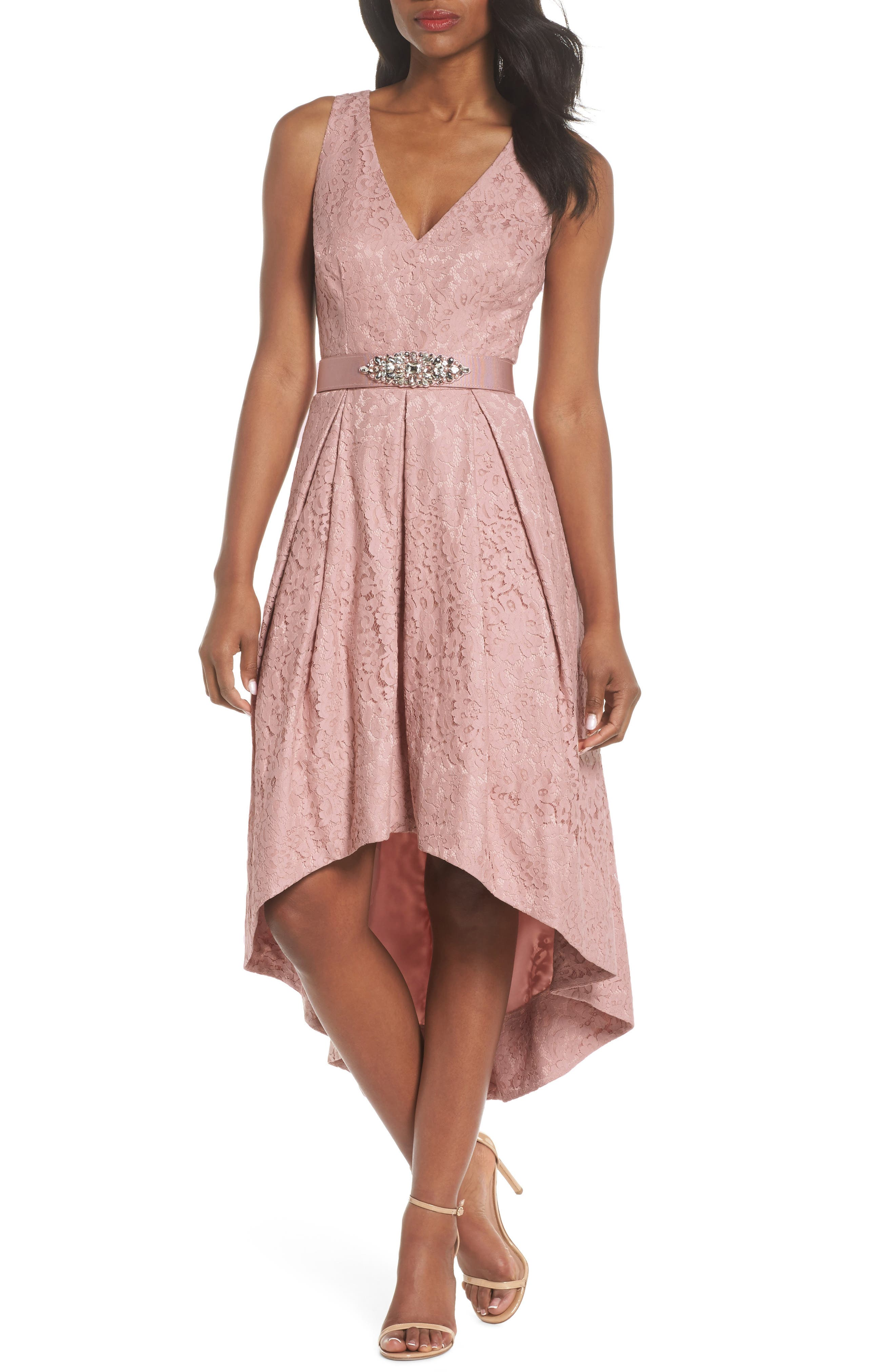 Belted Lace High/Low Dress,                             Main thumbnail 1, color,                             Blush