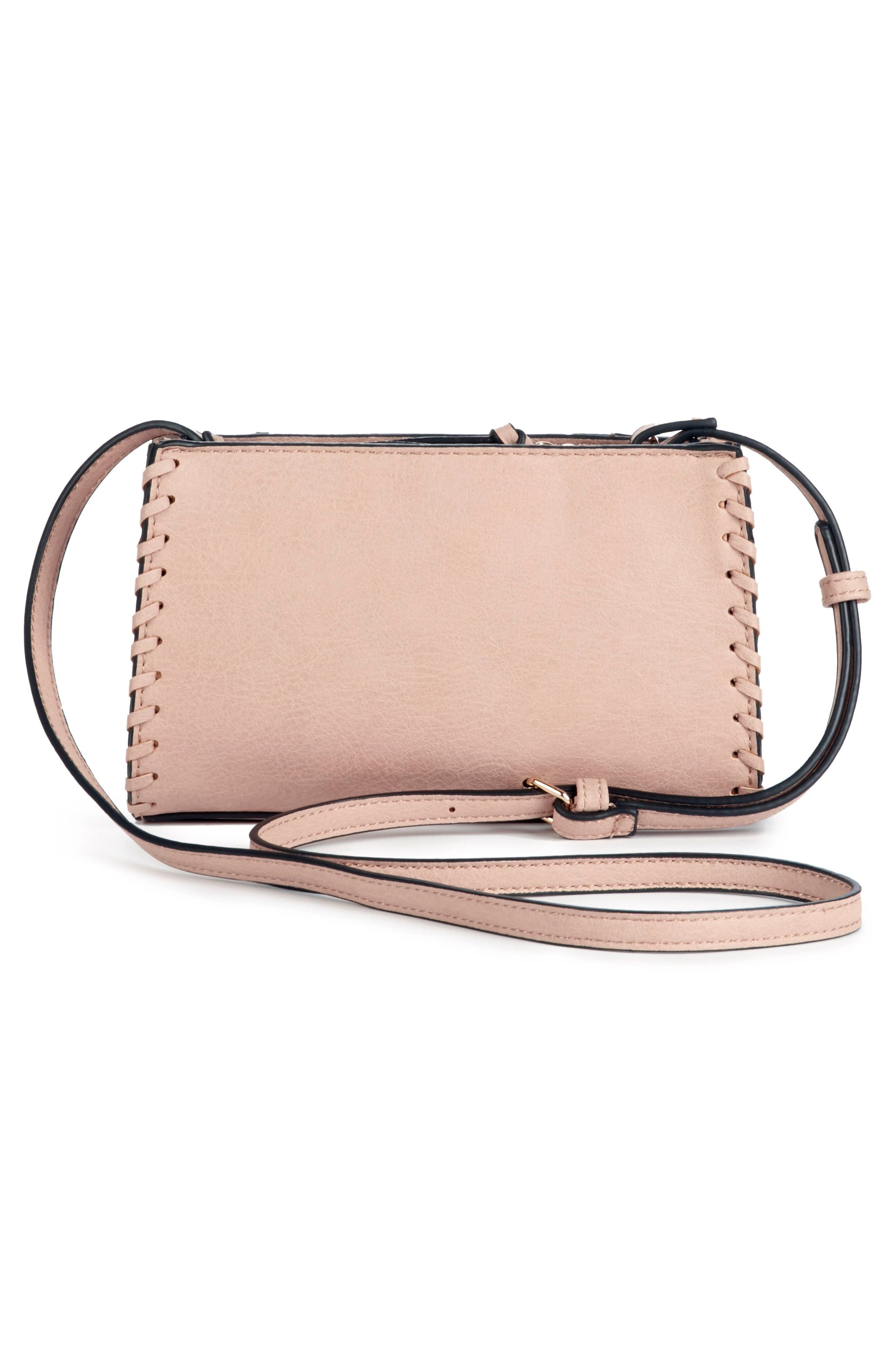 Destin Faux Leather Crossbody Bag,                             Alternate thumbnail 3, color,                             Blush