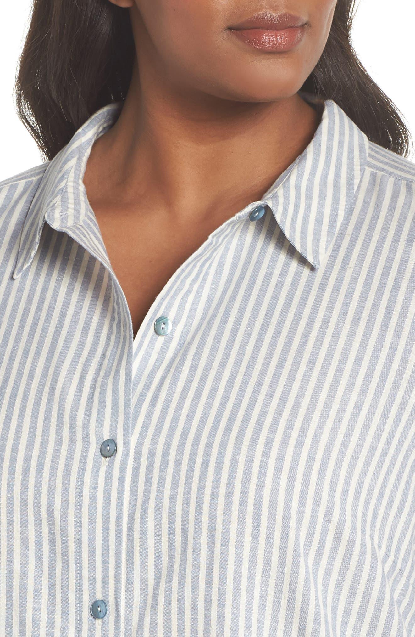 Stripe Tunic Top,                             Alternate thumbnail 4, color,                             Chambray