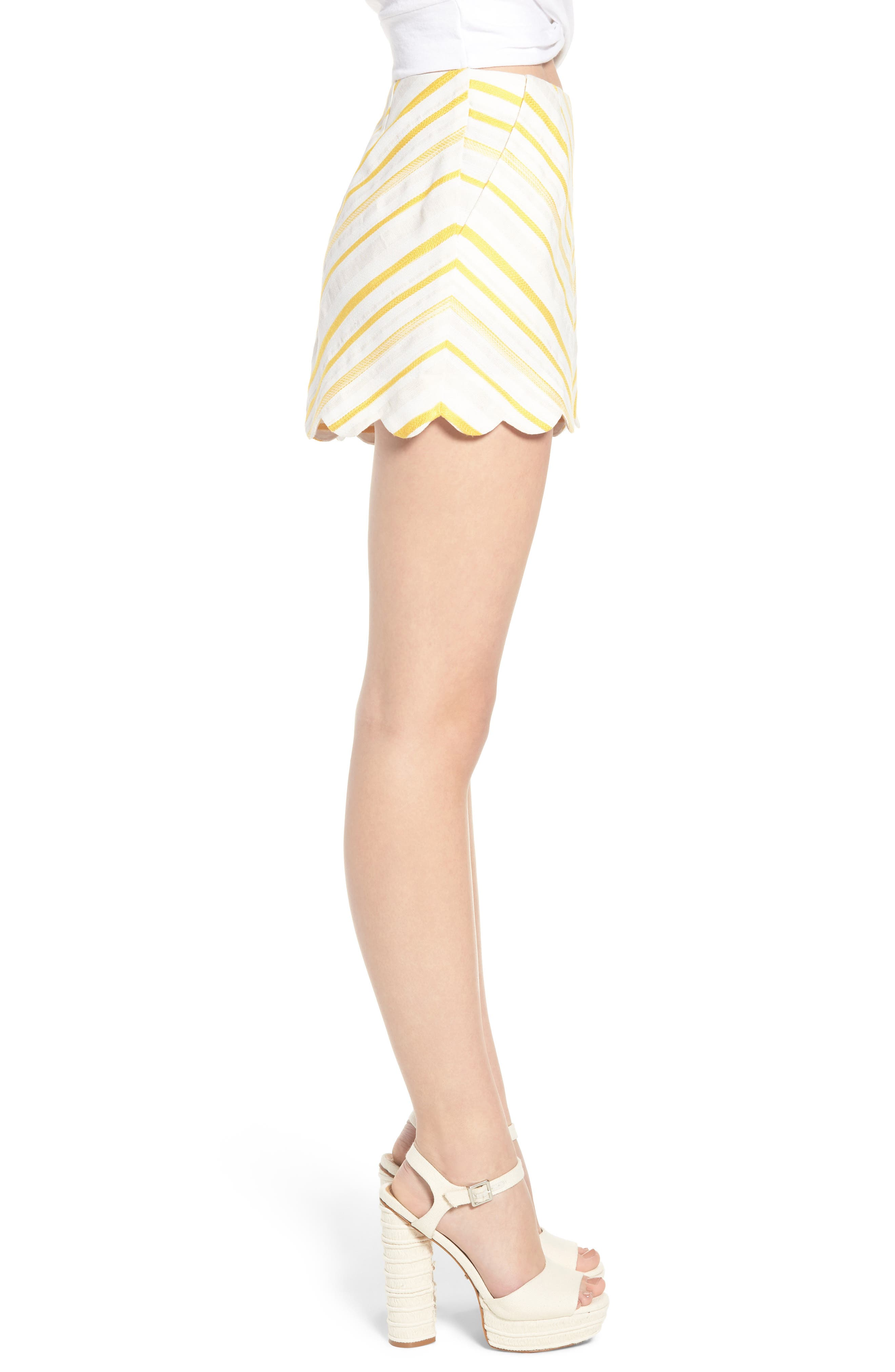 Scallop Shorts,                             Alternate thumbnail 3, color,                             Cream Yellow