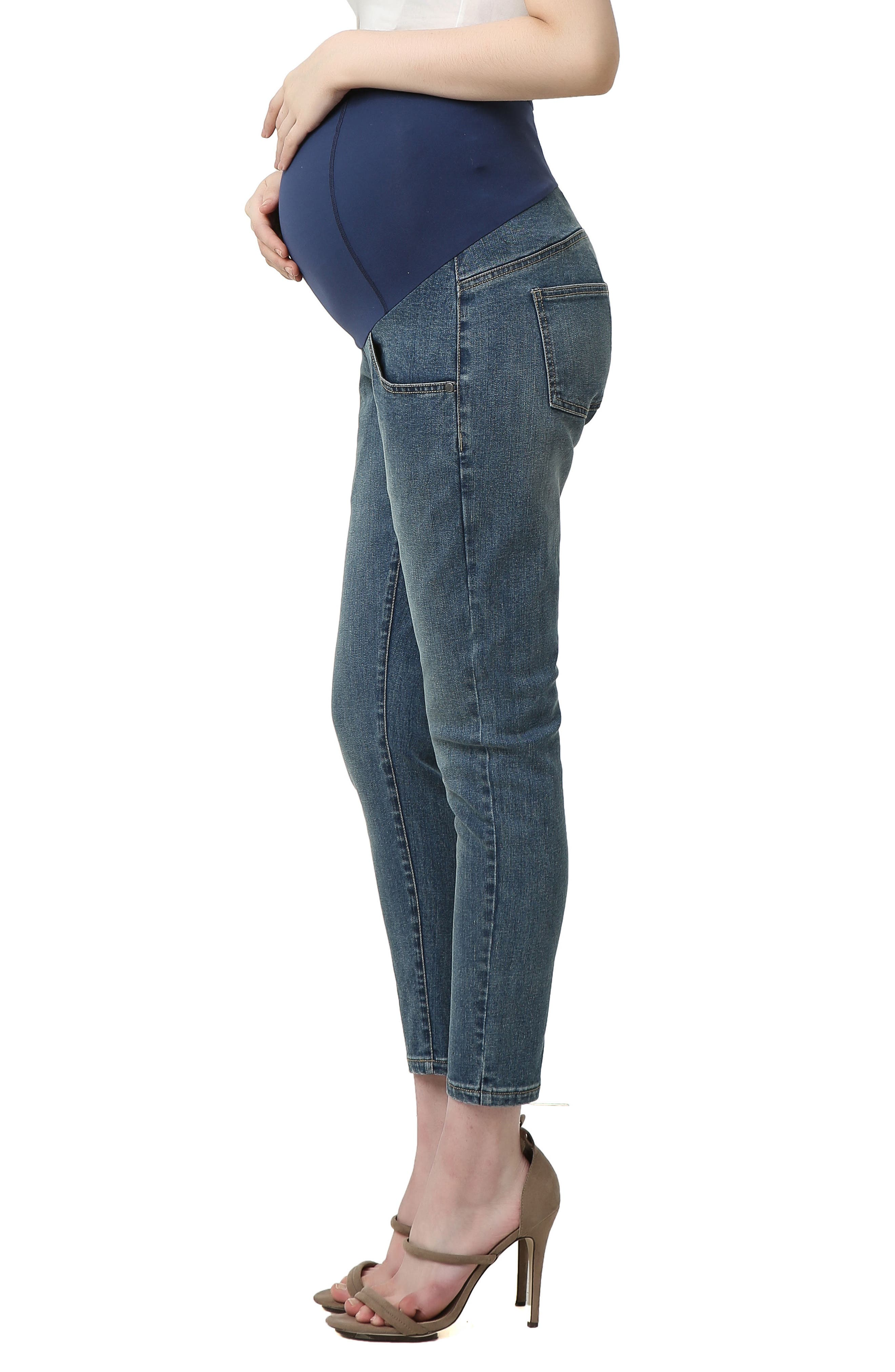 Tara Crop Maternity Skinny Jeans,                             Alternate thumbnail 2, color,                             Medium Indigo
