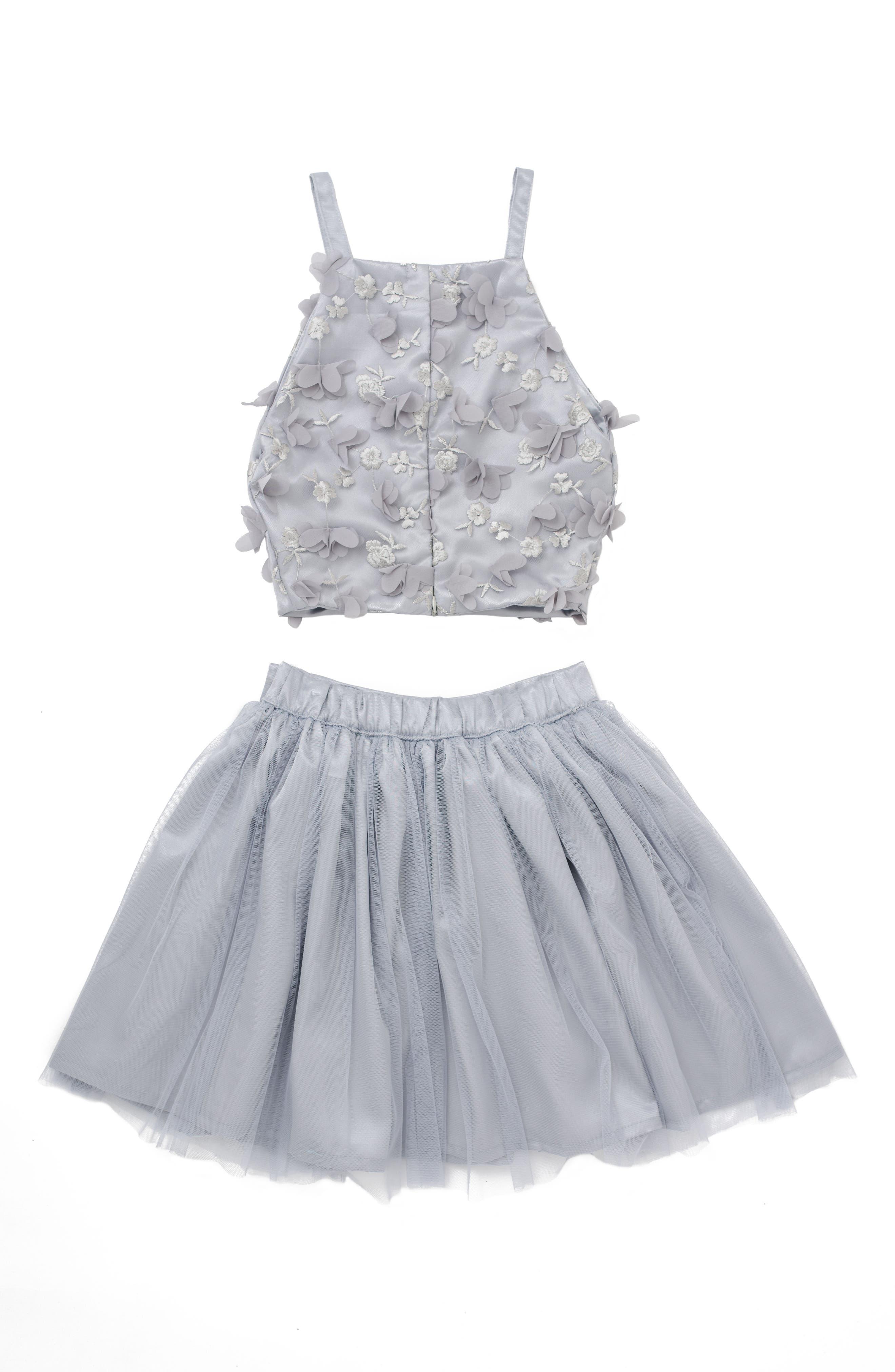 Stella M'Lia 3D Tulle Two-Piece Dress,                             Alternate thumbnail 2, color,                             Silver