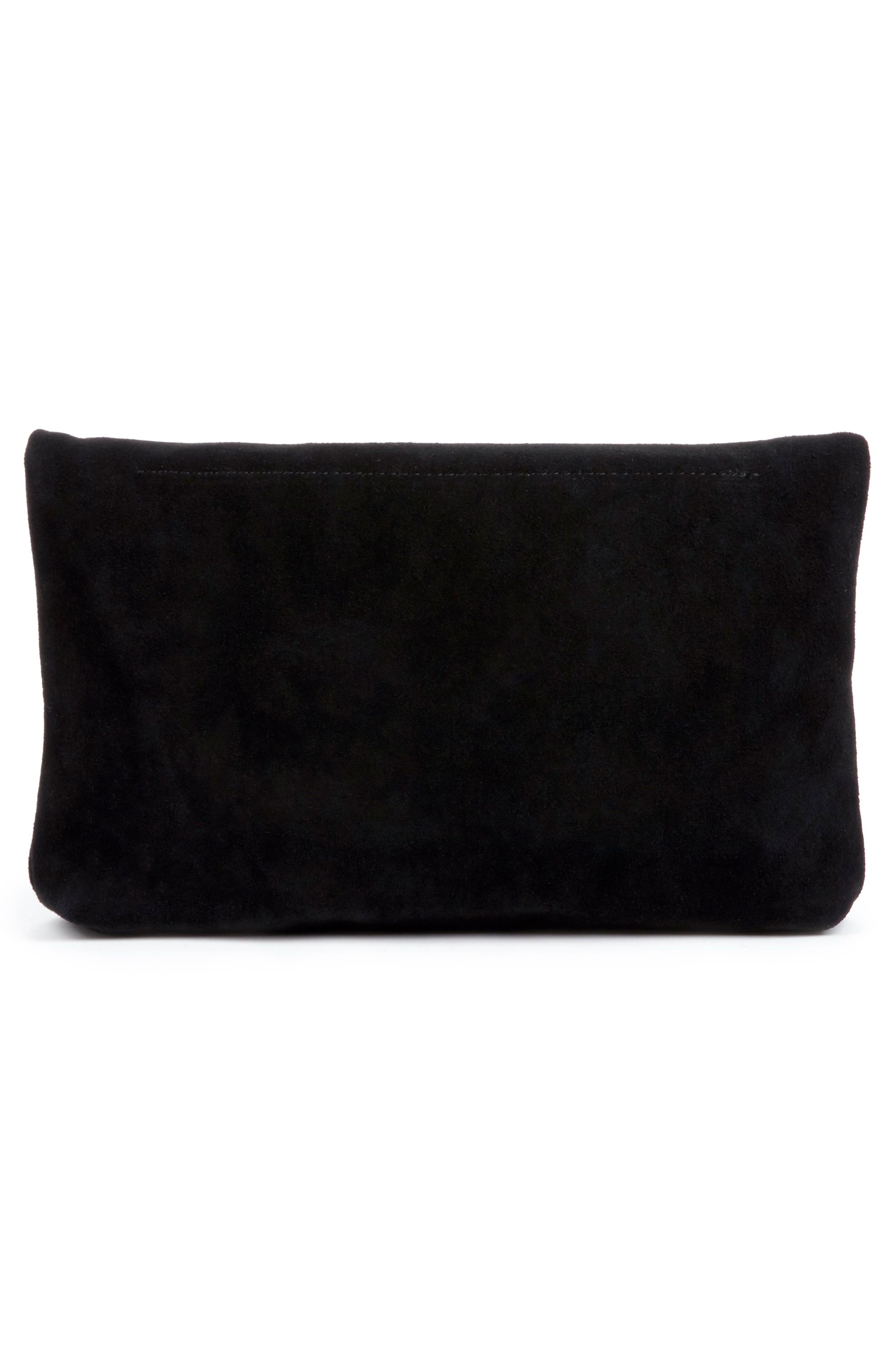 Suede Foldover Clutch,                             Alternate thumbnail 2, color,                             Black