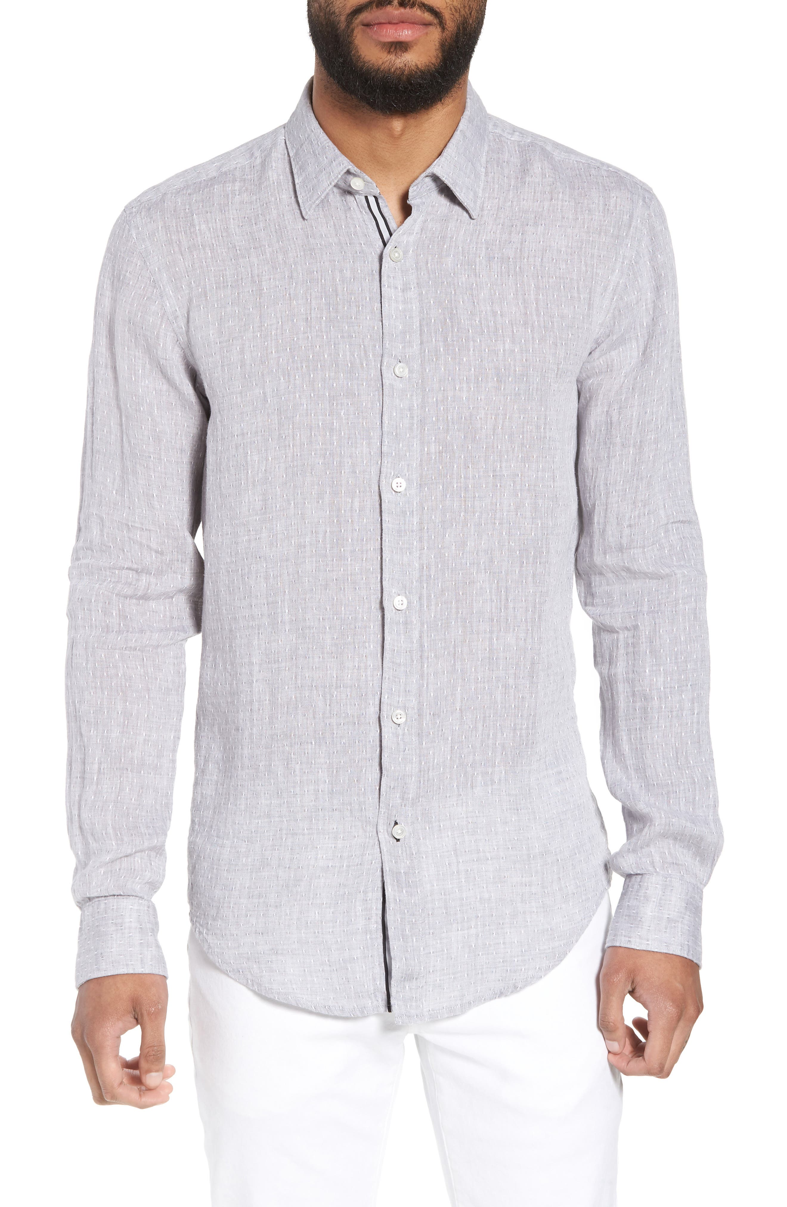 Ronni Slim Fit Dobby Linen Sport Shirt,                         Main,                         color, Grey