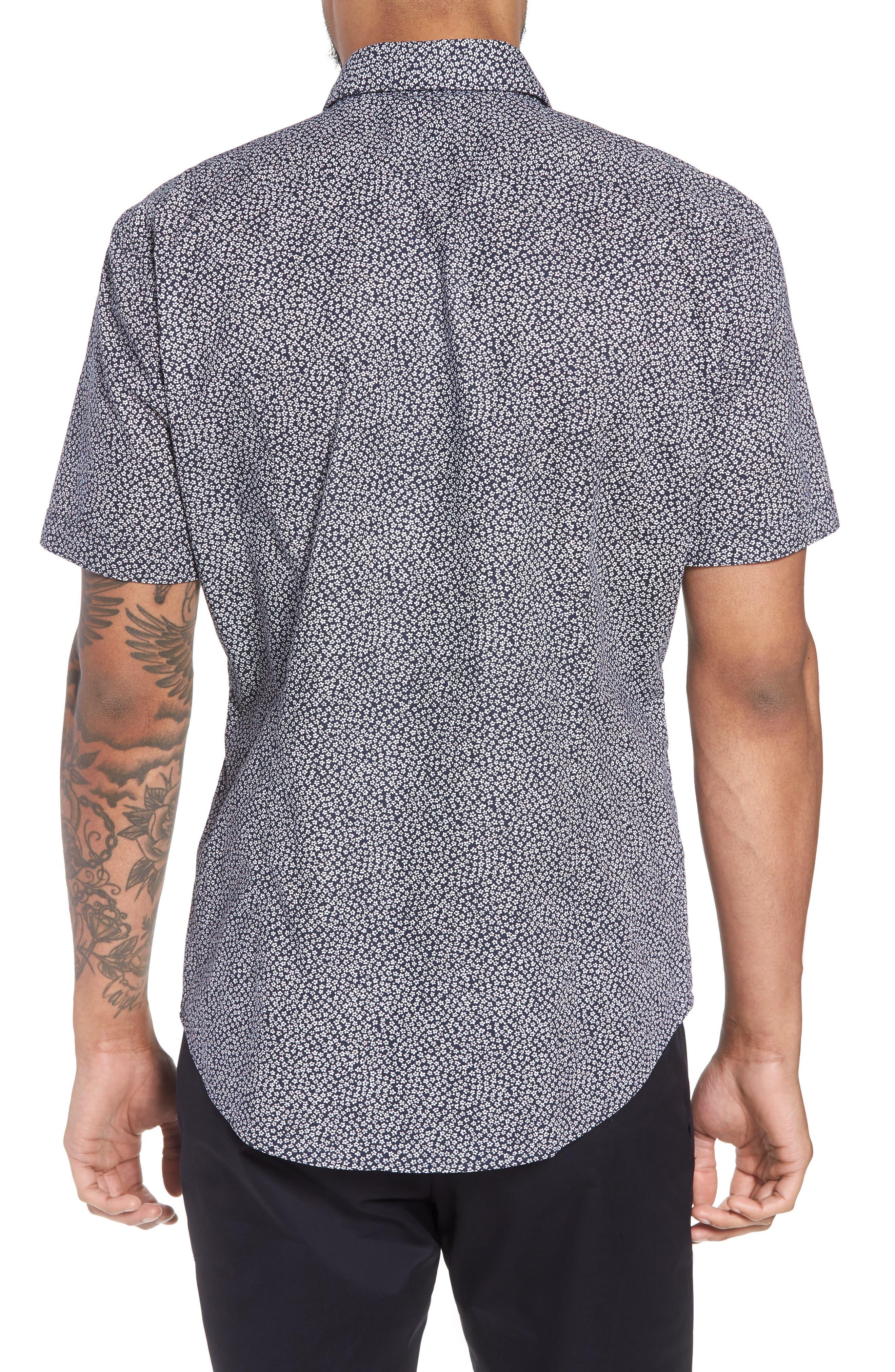 Alternate Image 2  - BOSS Robb Trim Fit Floral Short Sleeve Sport Shirt