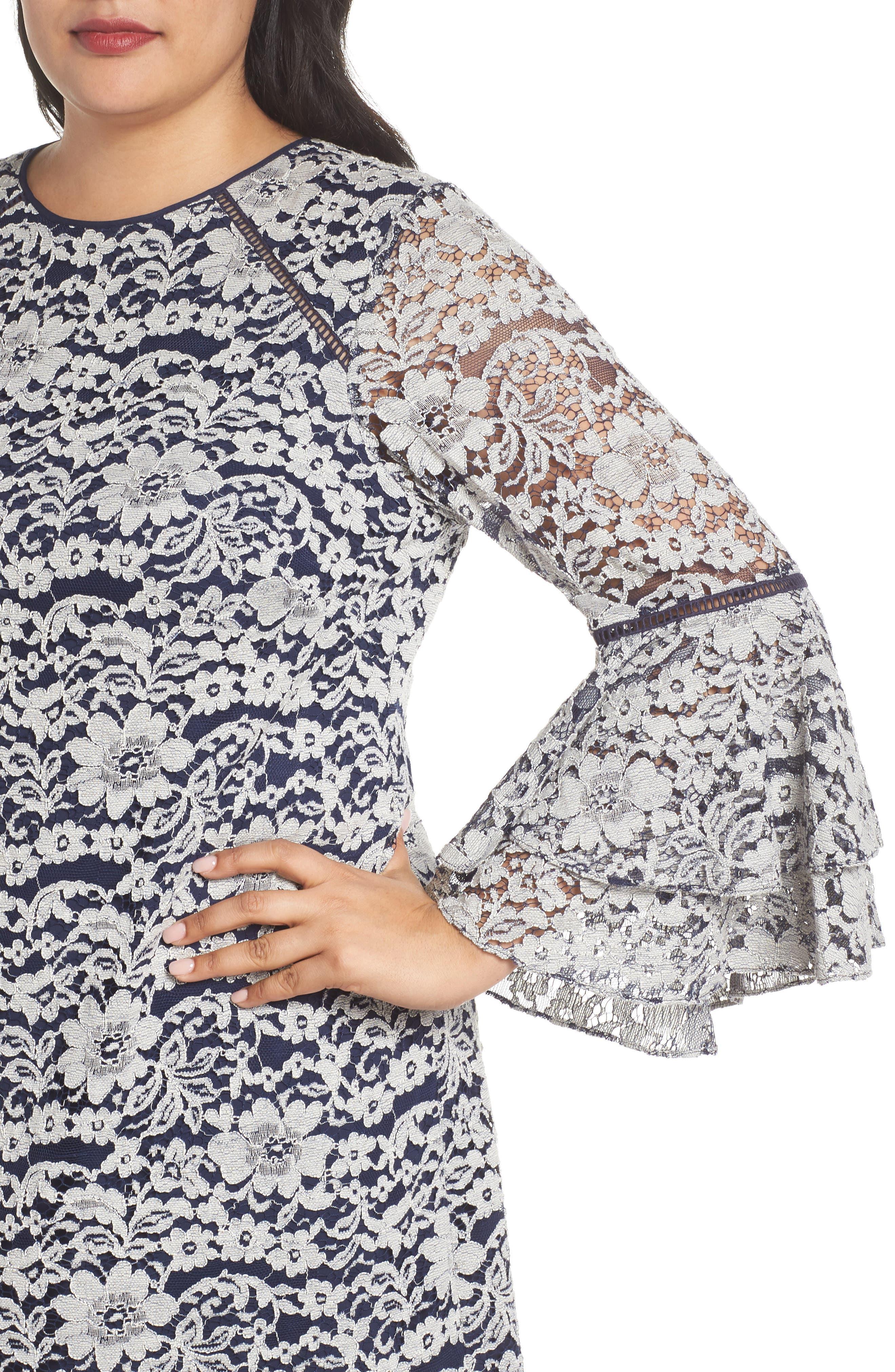 Alternate Image 4  - Chelsea28 Lace Tier Bell Sleeve Shift Dress (Plus Size)