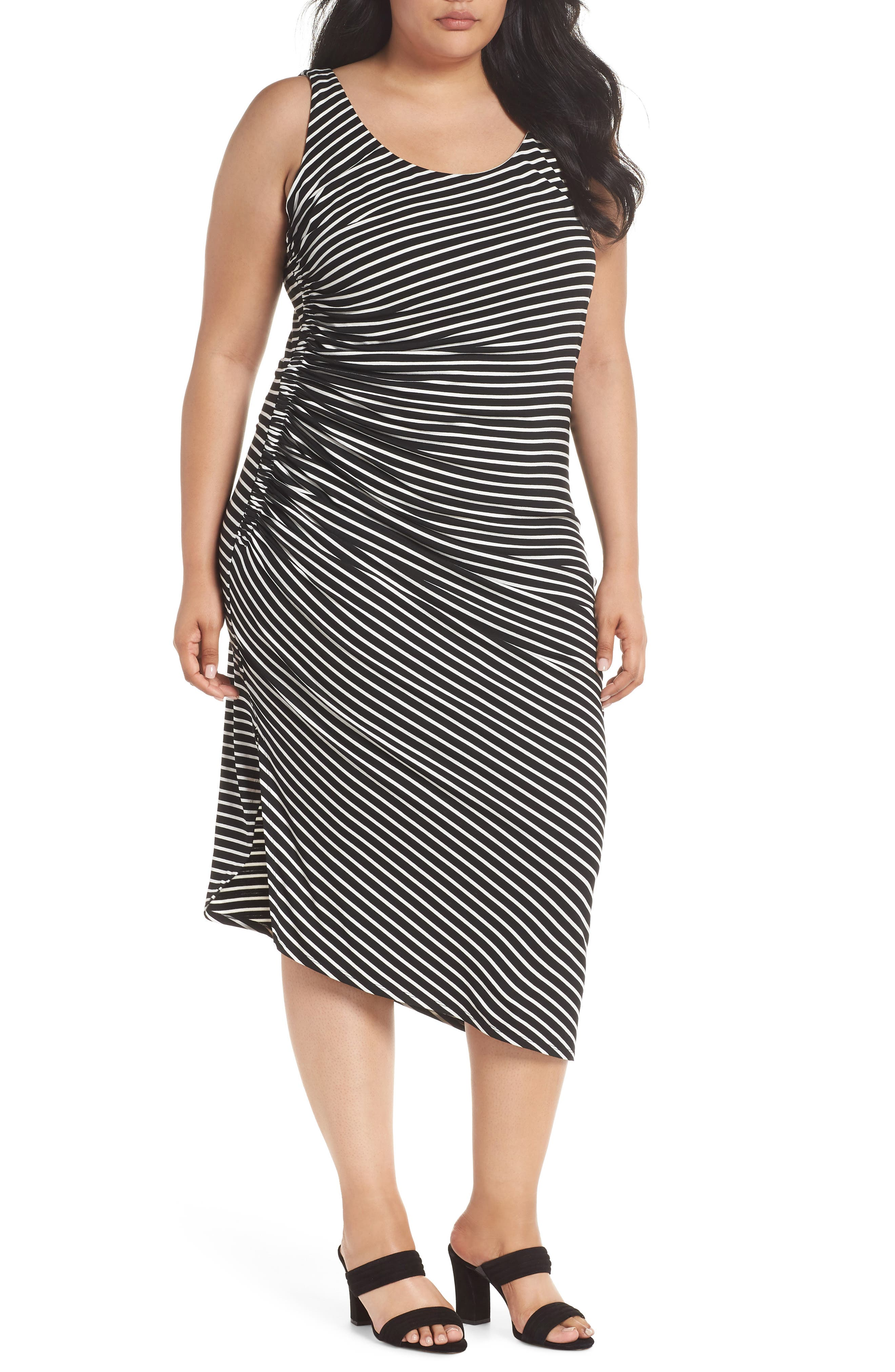 Amalfi Side Ruched Stripe Body-Con Dress,                             Main thumbnail 1, color,                             Rich Black