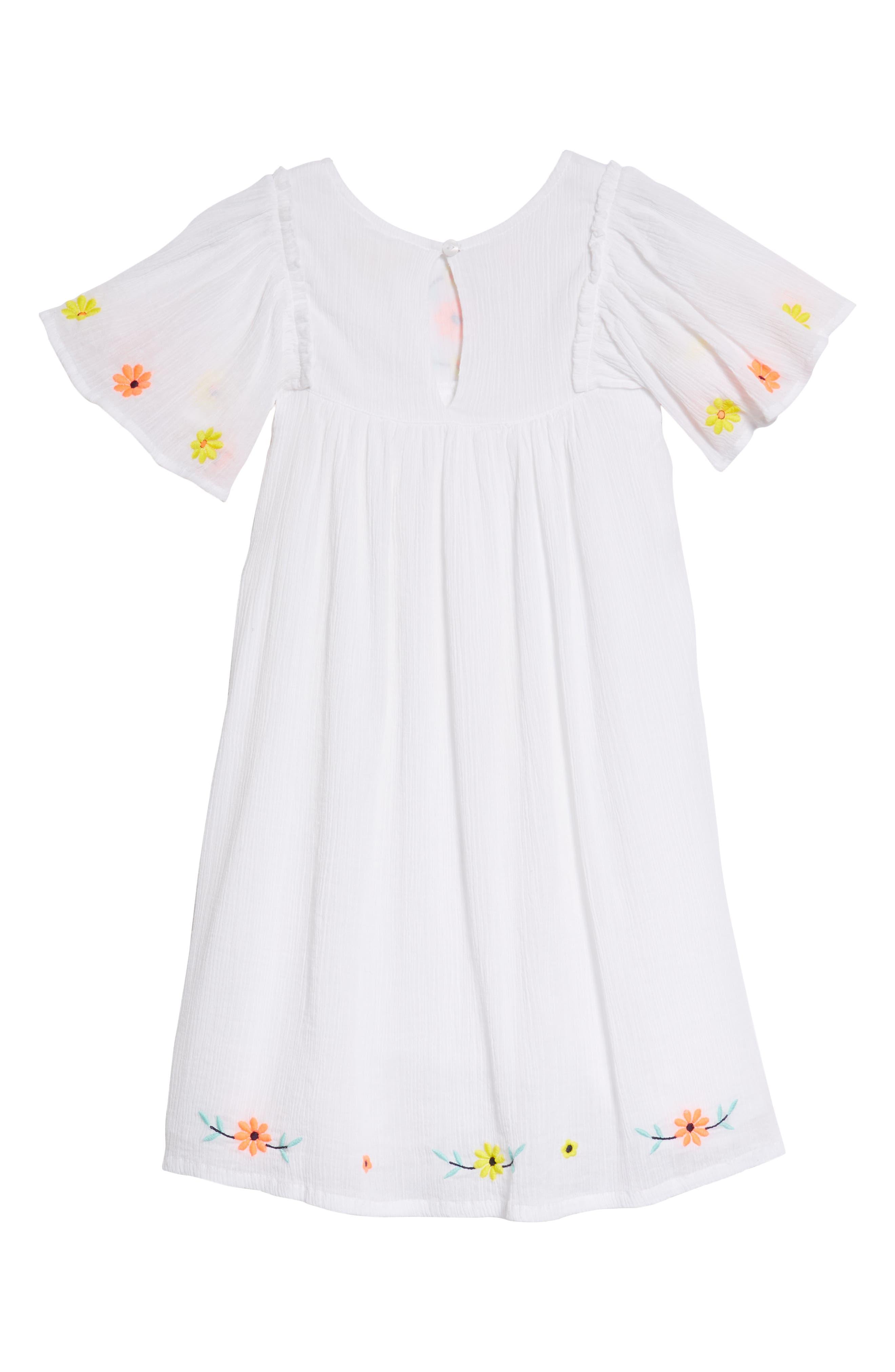 Embroidered Flutter Sleeve Dress,                             Alternate thumbnail 2, color,                             White
