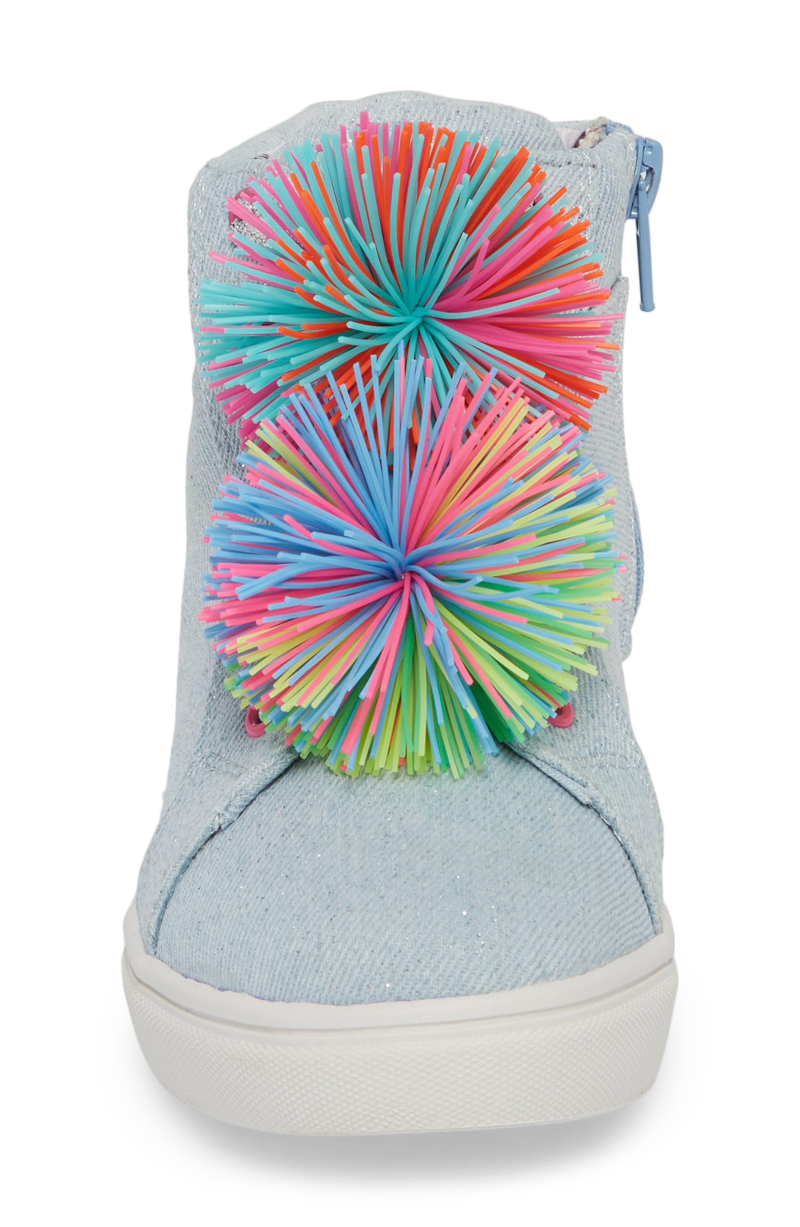 JBrendie Pompom High Top Sneaker,                             Alternate thumbnail 4, color,                             Denim